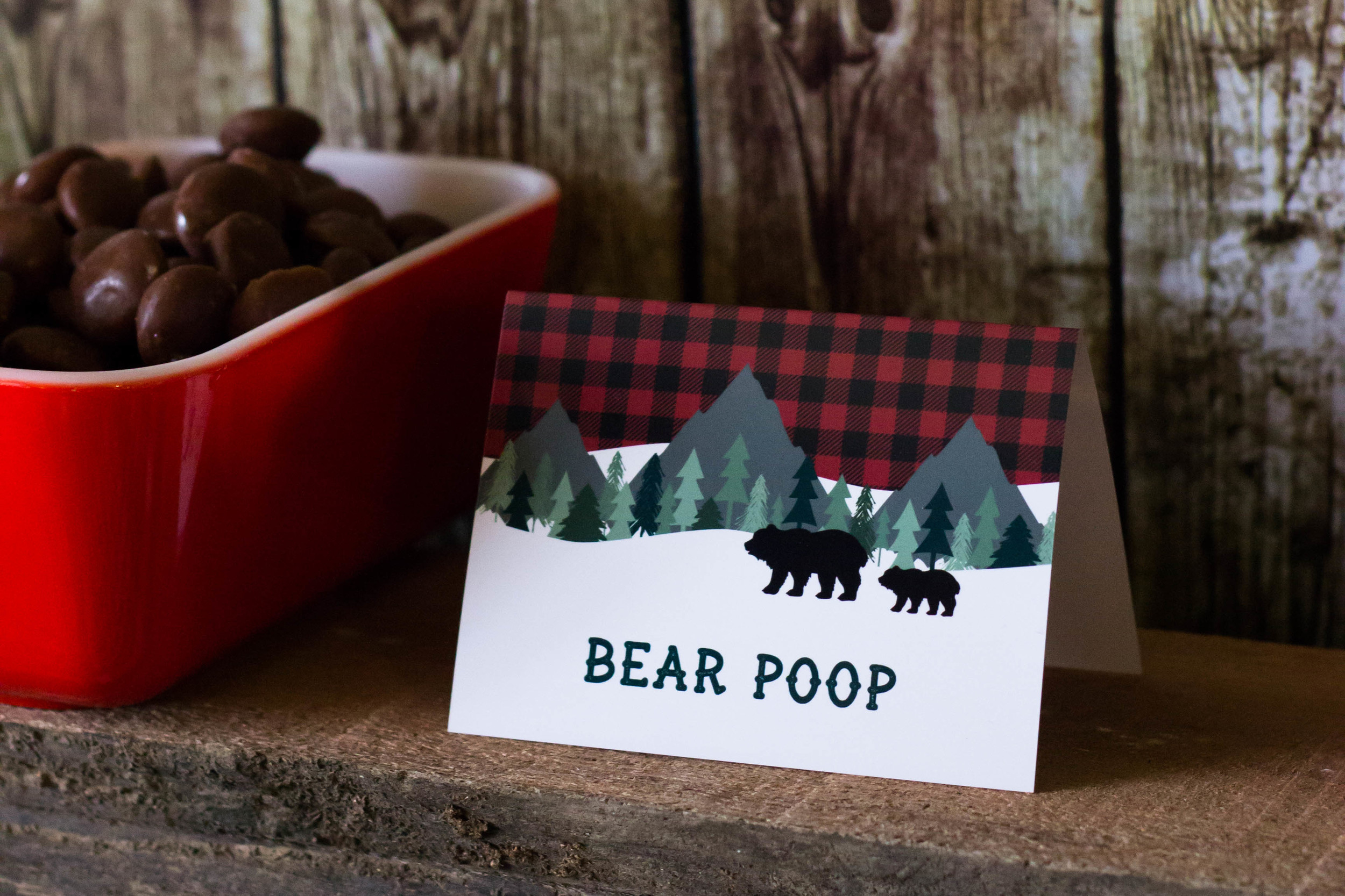 Bear Poop milk duds, food ideas for a lumberjack birthday | MKKM Designs