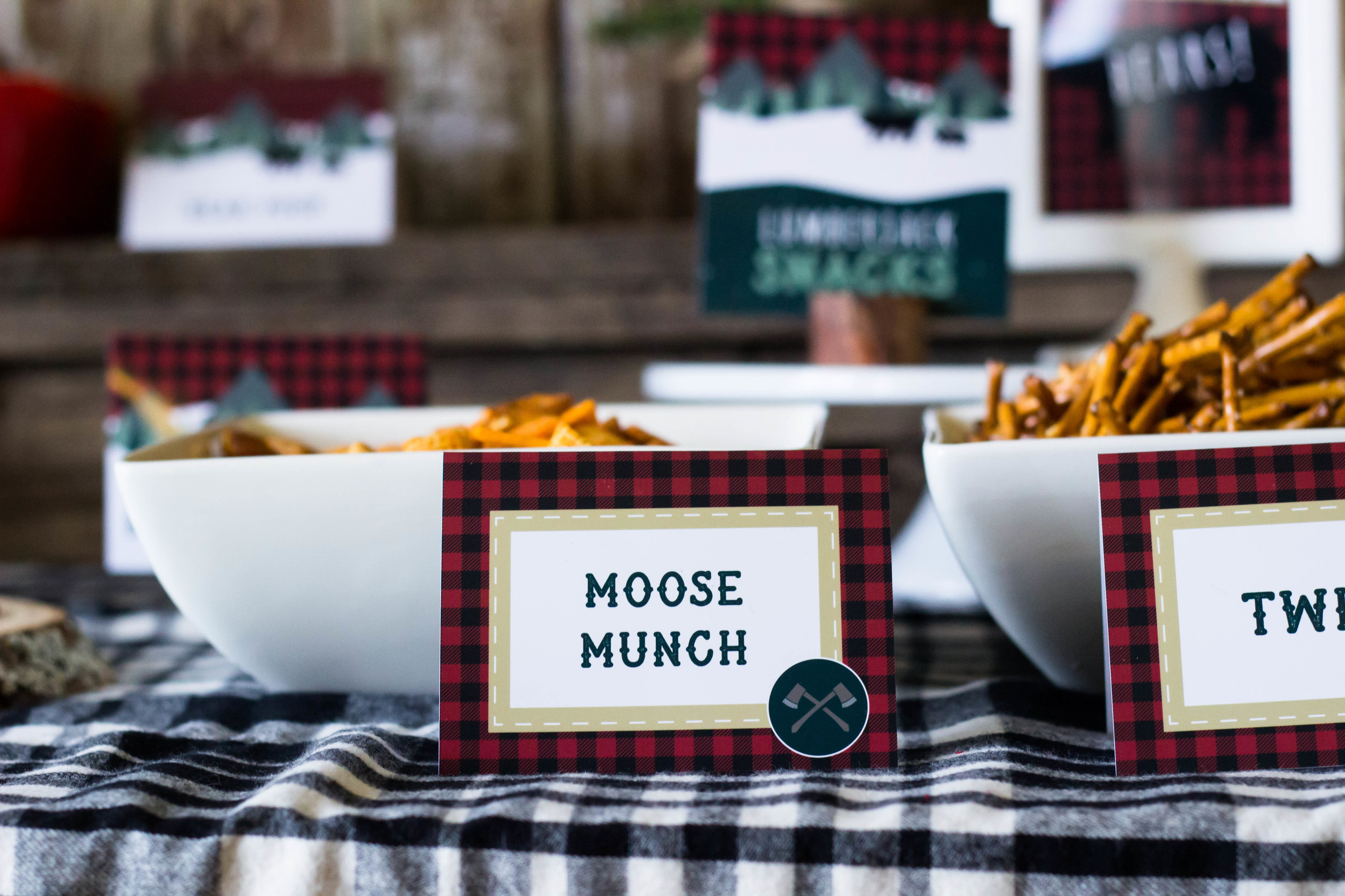 Moose munch chex mix at a lumberjack birthday | MKKM Designs
