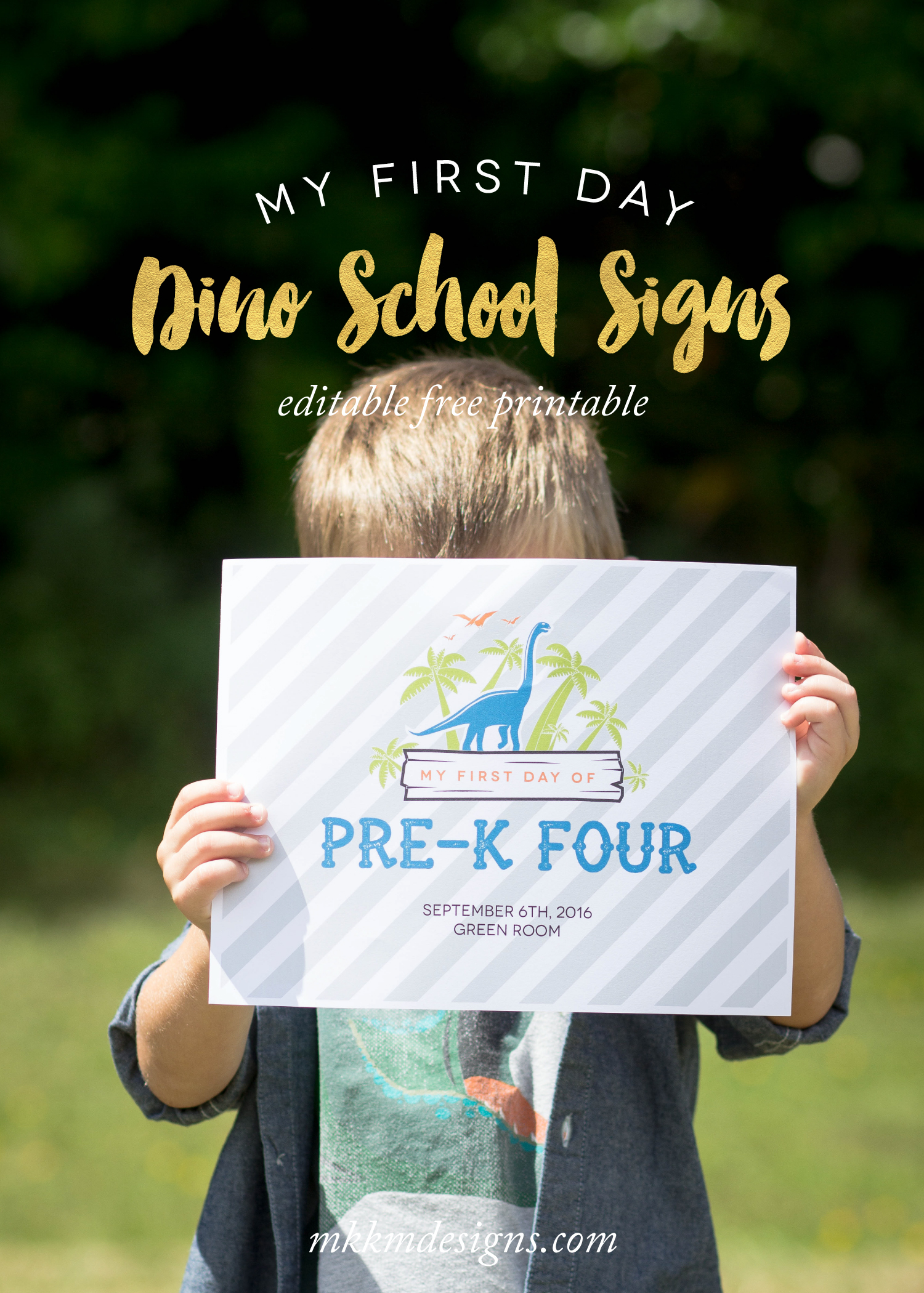 Printable First Day of School Sign in a fun dino theme by MKKM Designs