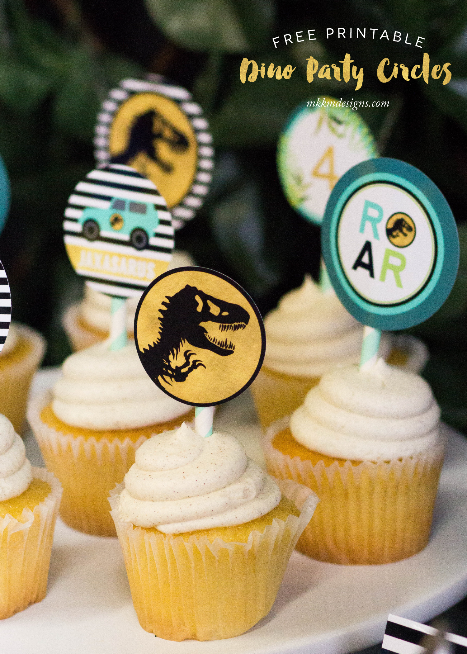Free Printable Dino Cupcake Toppers by MKKM Designs