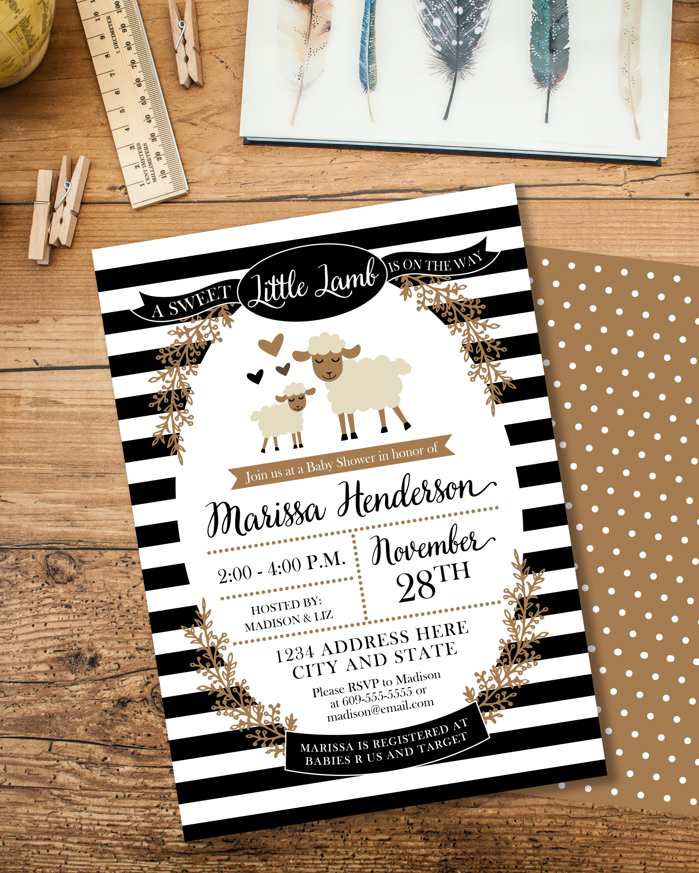 Little Lamb Shower Invite
