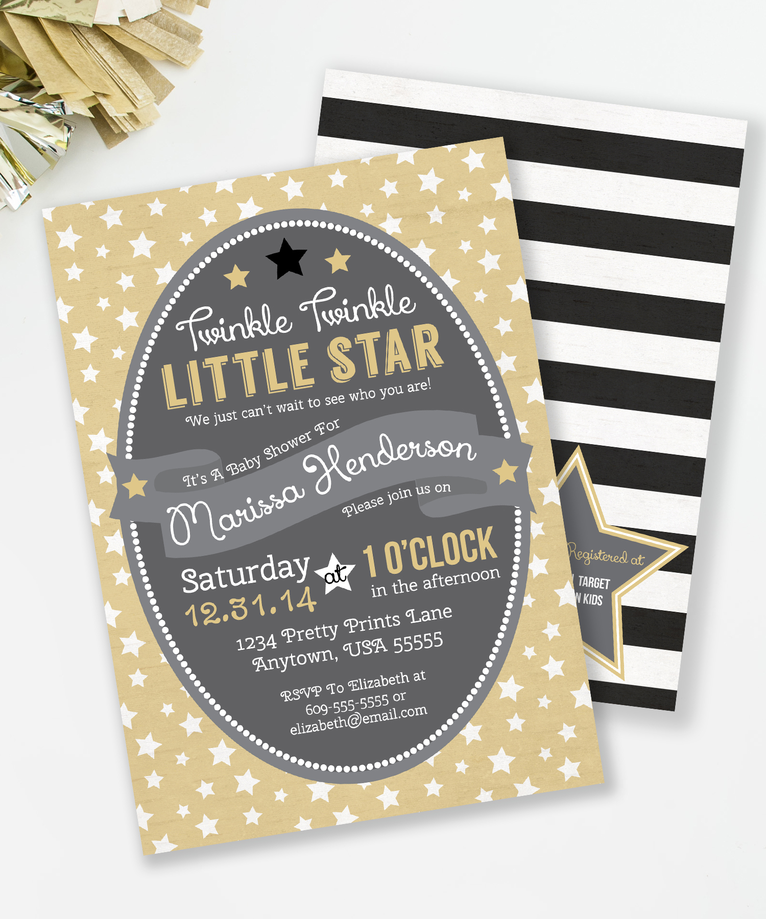 Twinkle Twinkle Little Star, Gender Neutral Baby Shower Invitation