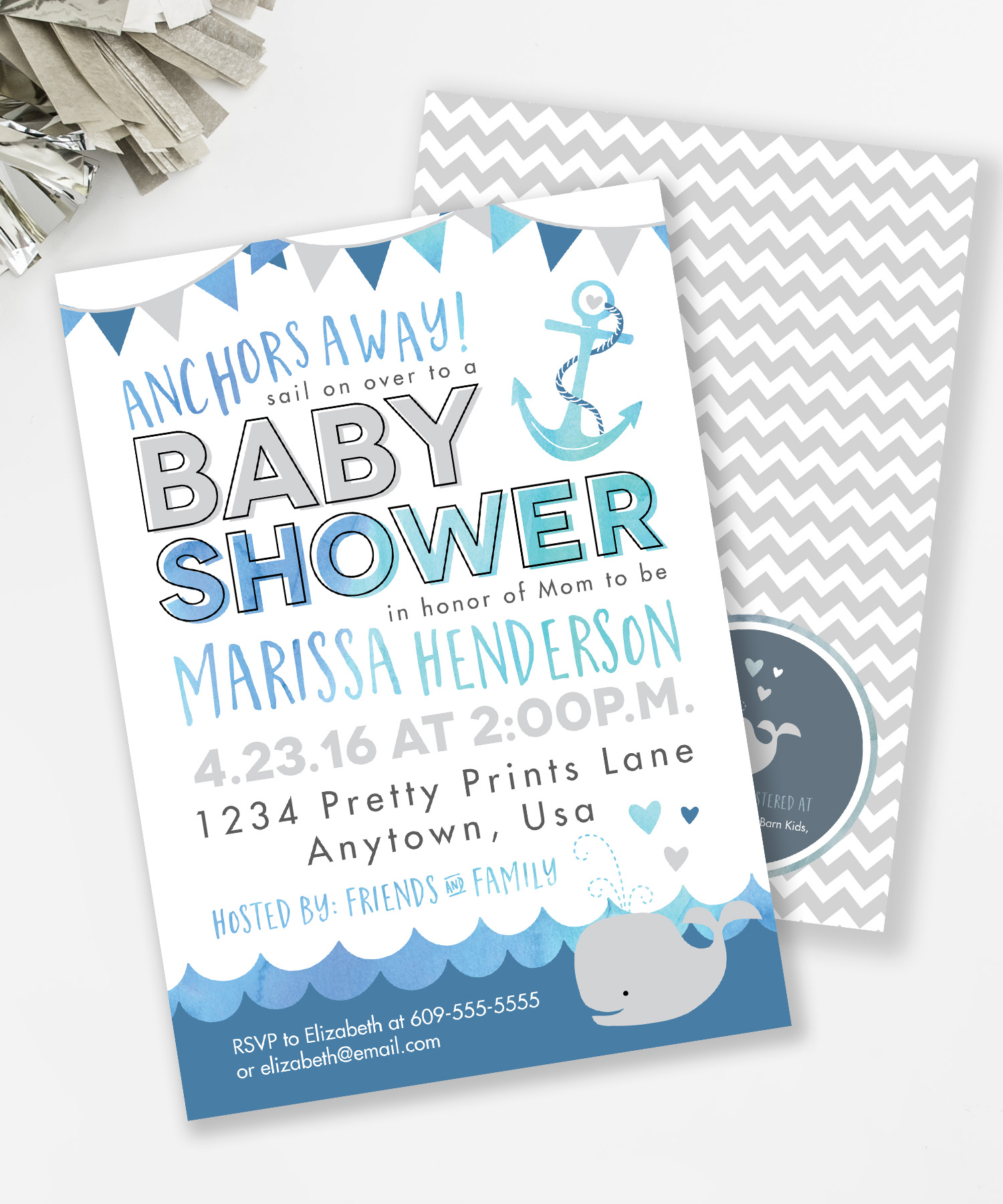 Whale Baby Shower Invite