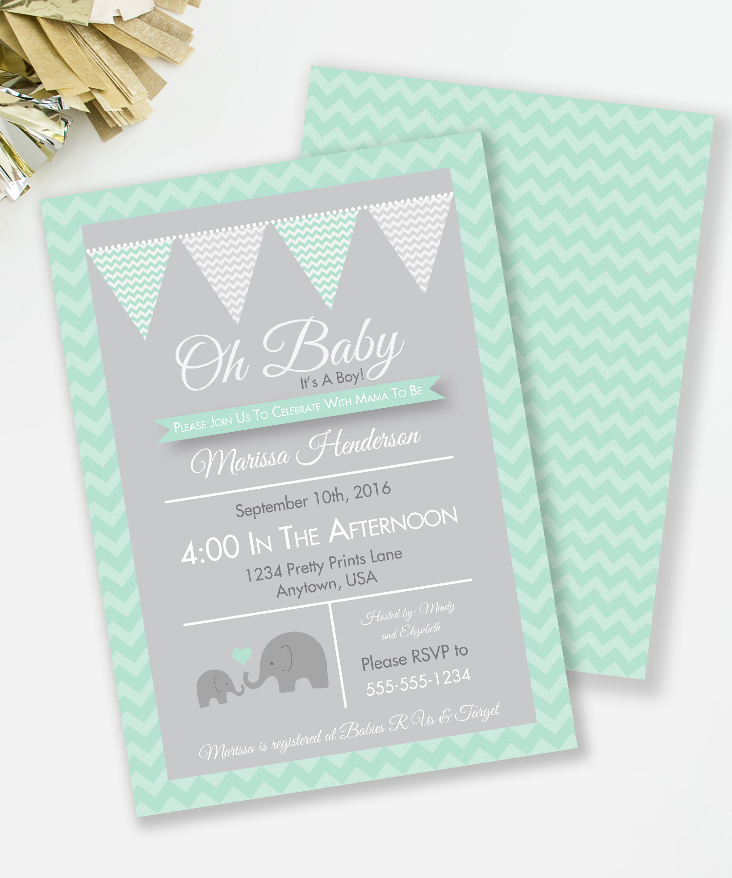 Elephant Baby Shower invite in gender neutral Mint and Gray