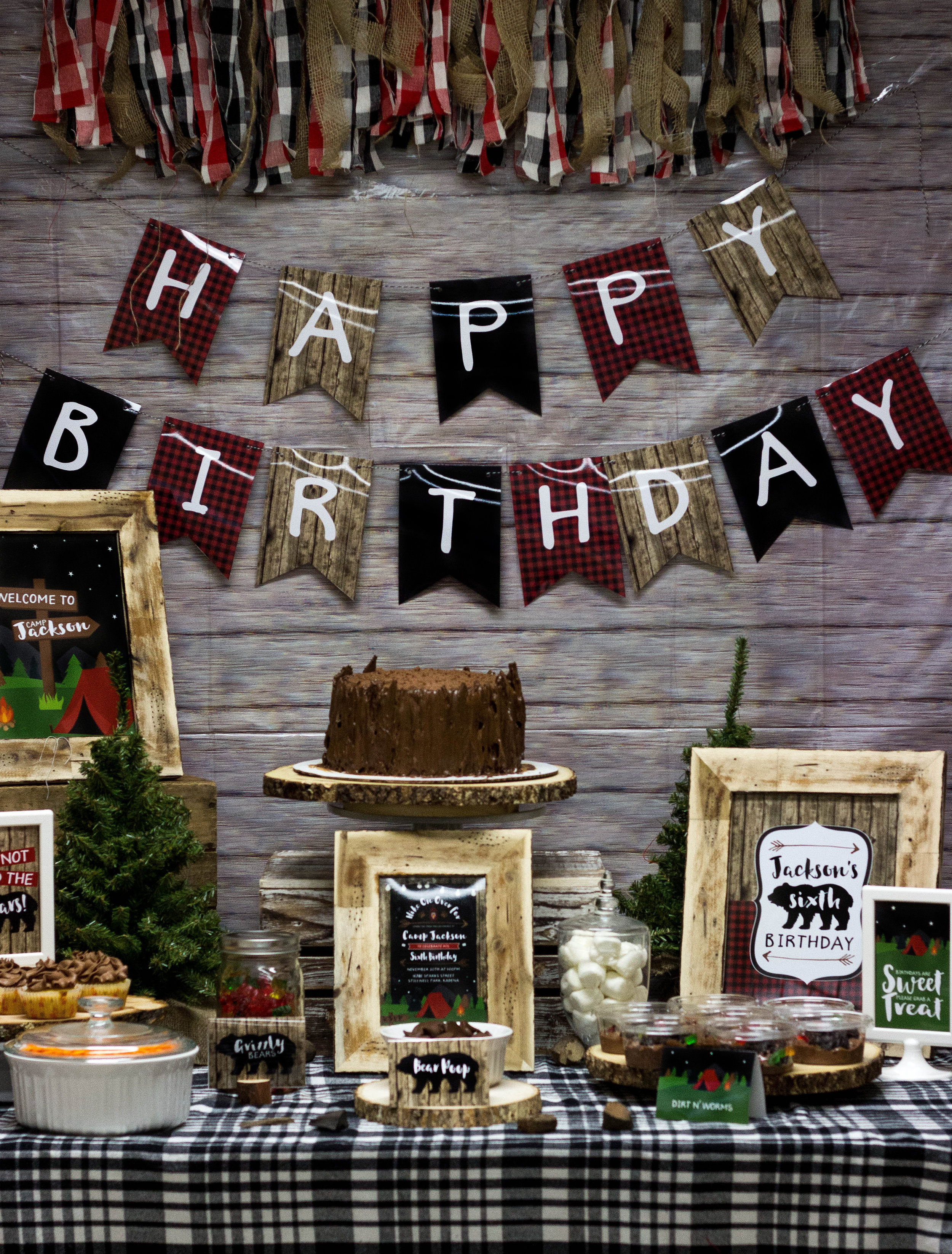 Camping birthday party theme by MKKM Designs
