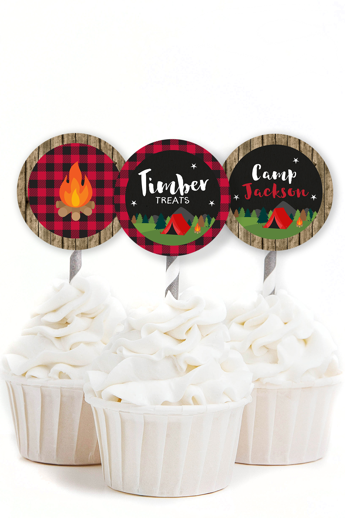 Camping birthday cupcake toppers