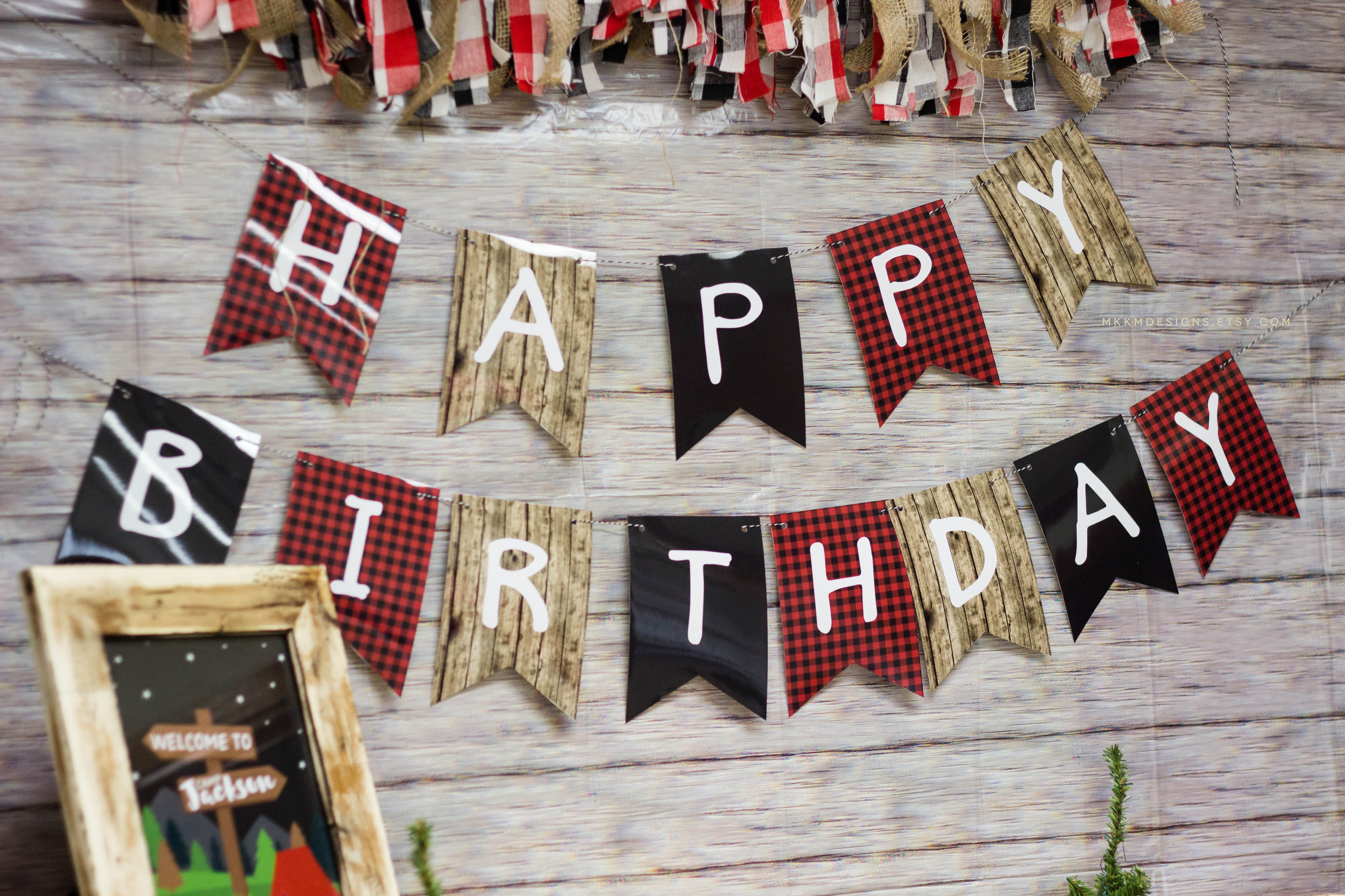 Happy birthday banner from a camping birthday