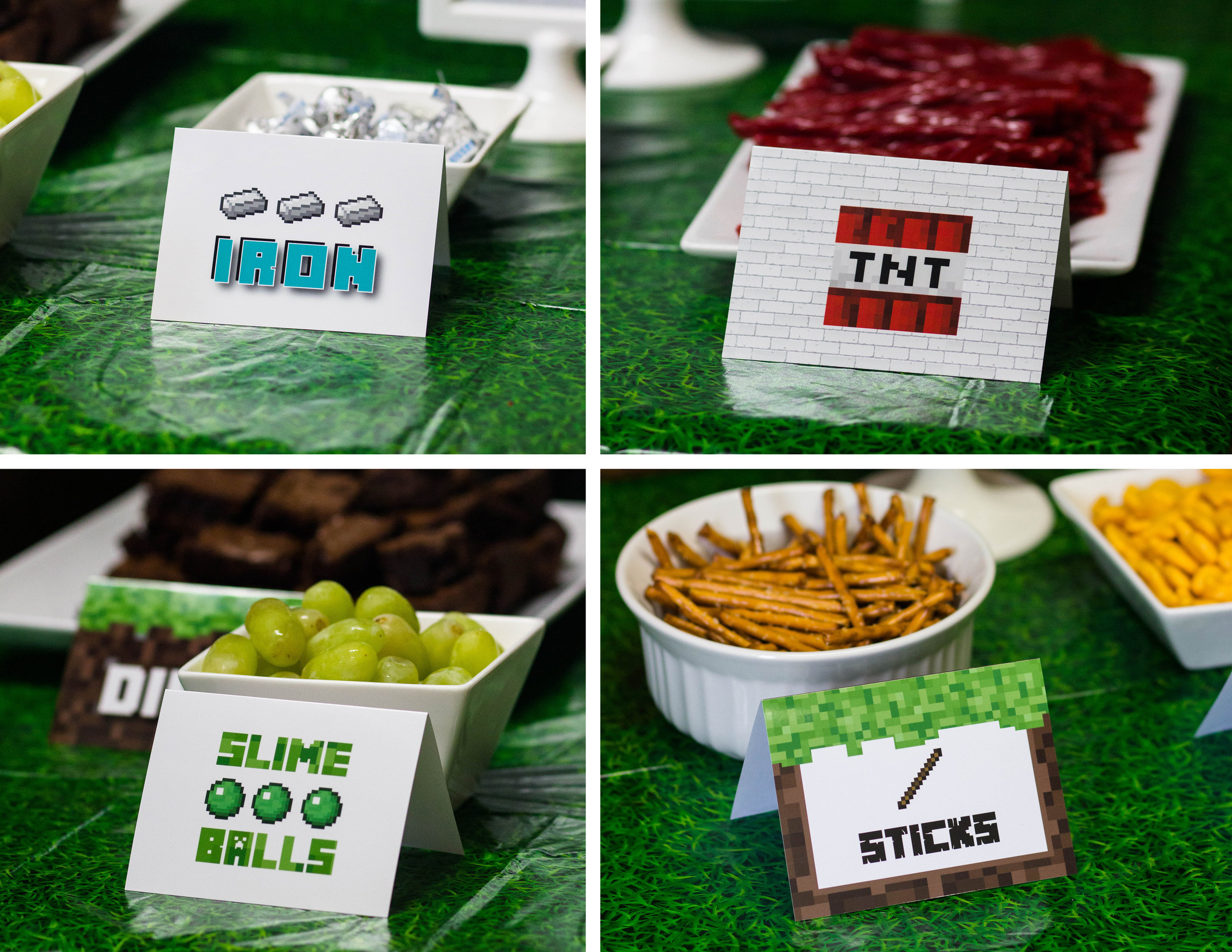 Minecraft themed food cards by MKKM Designs
