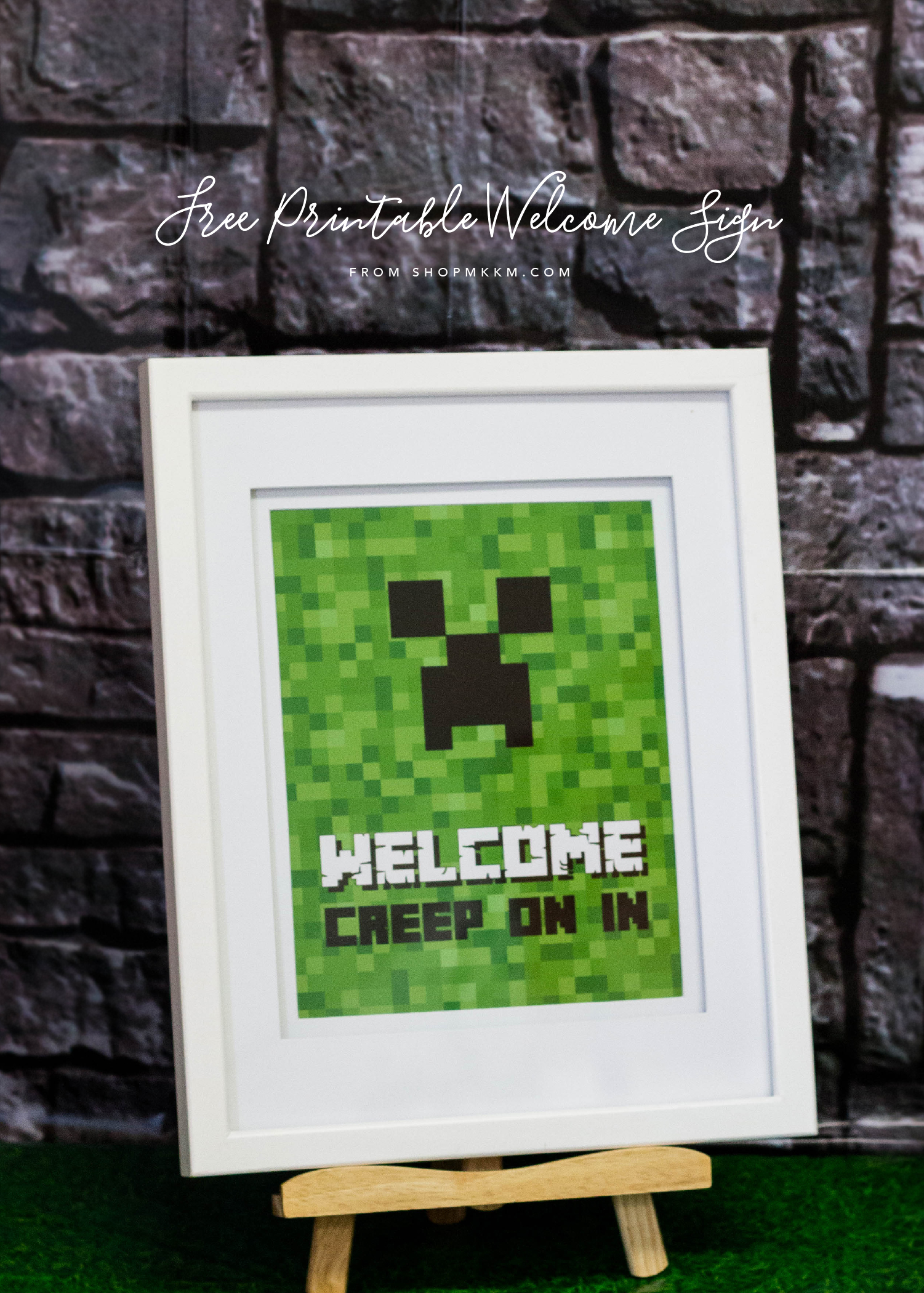 Free Printable Minecraft Welcome Sign by MKKM Designs