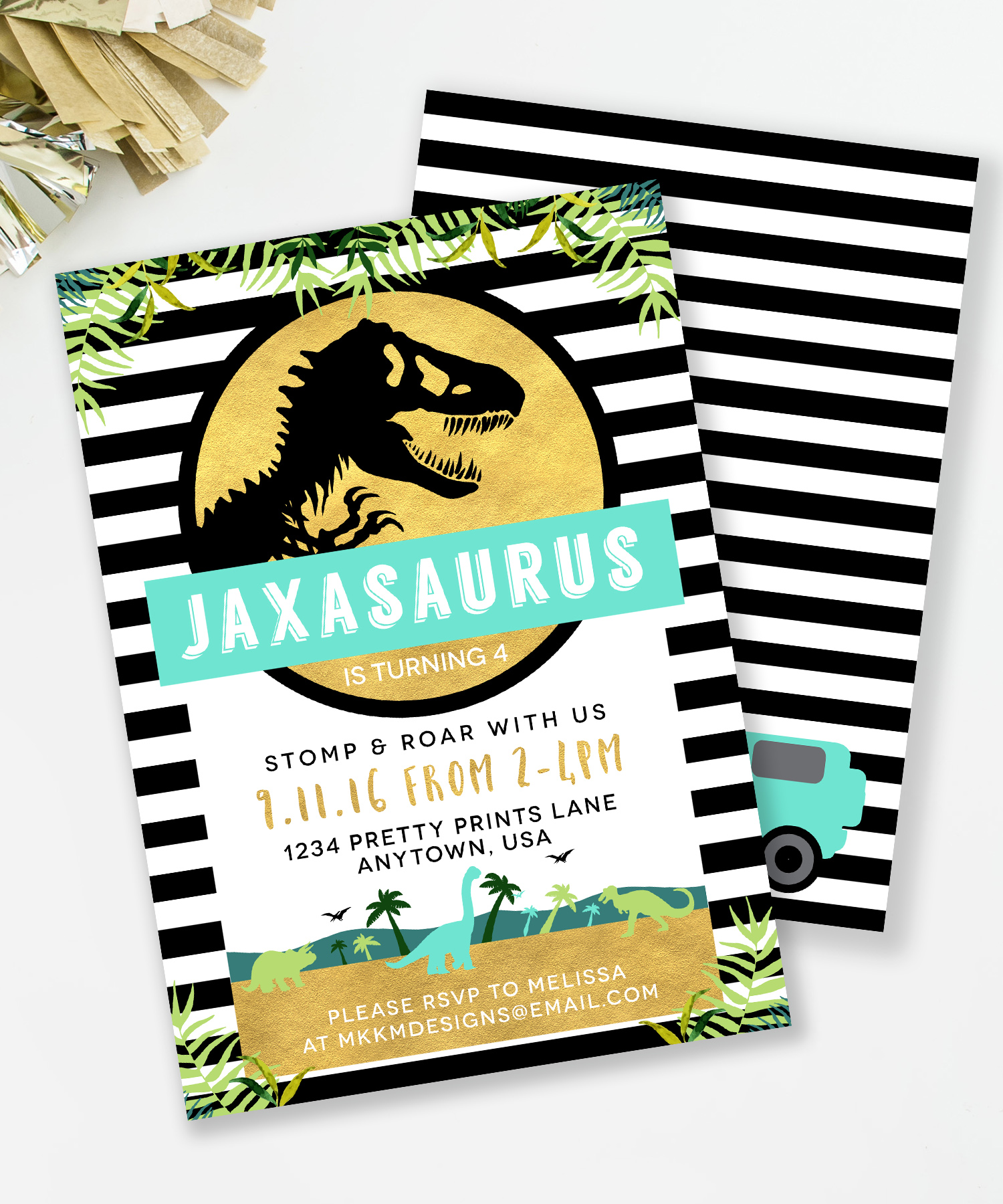 Jurassic Park Dinosaur Invitation by MKKM Designs. These black and gold, botanical themed, invitations are perfect for a Dino party that's unique.