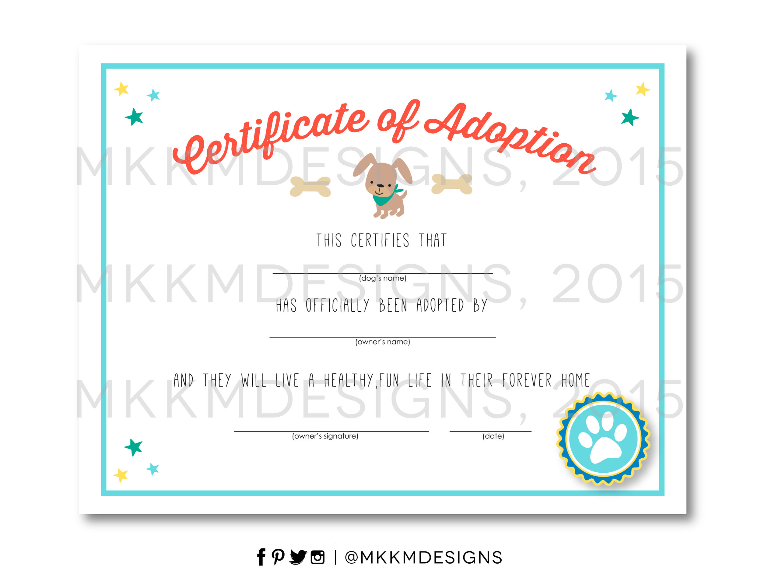 Free Printable Puppy Adoption certificate from MKKM Designs