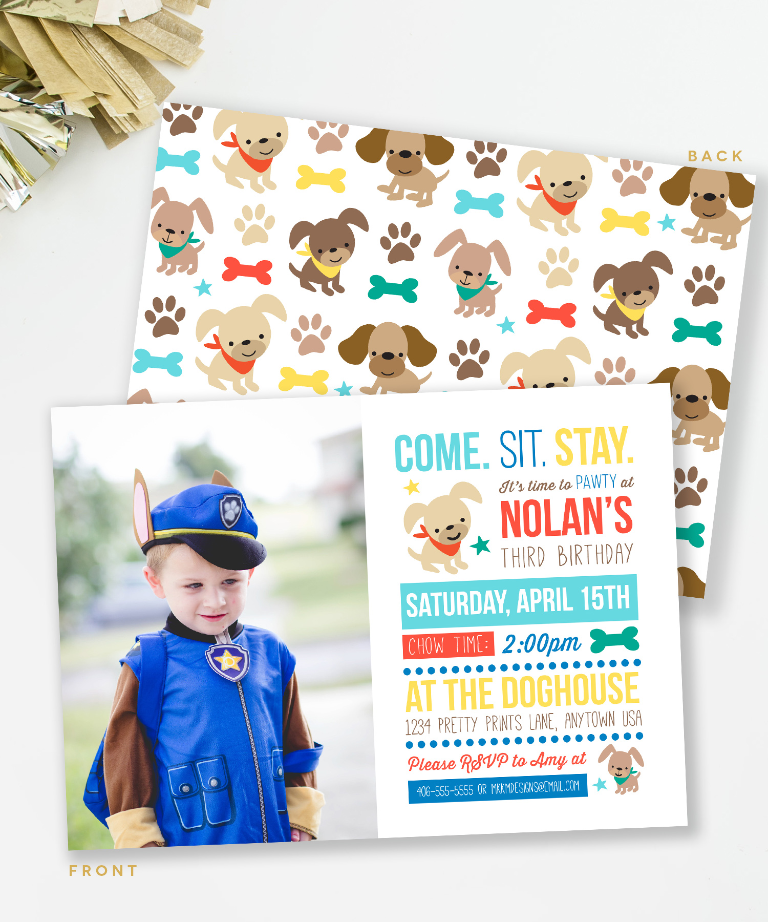 Puppy Birthday Photo Invitation