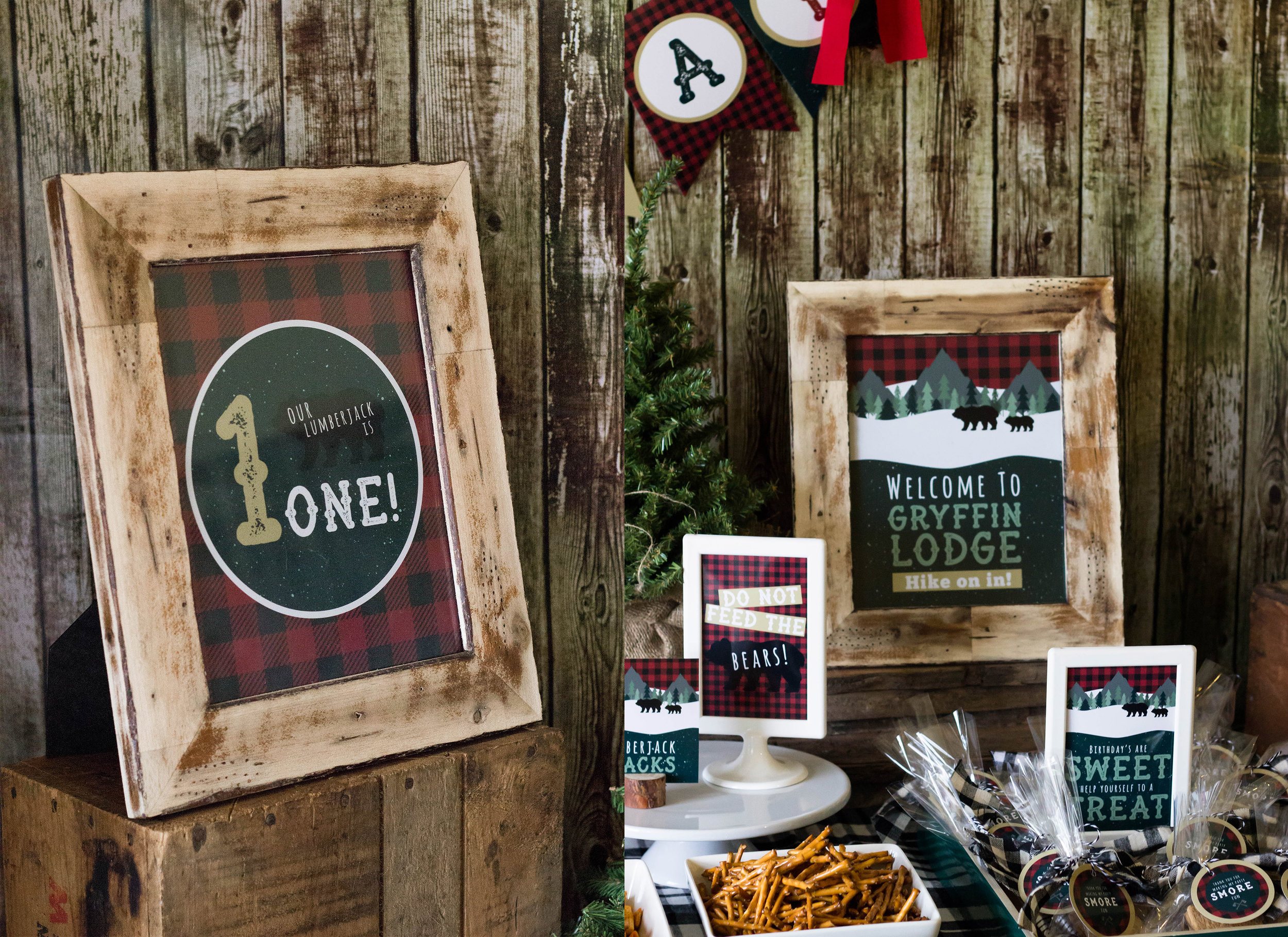 Lumberjack party food signs. Customized Lodge sign for a rustic birthday.