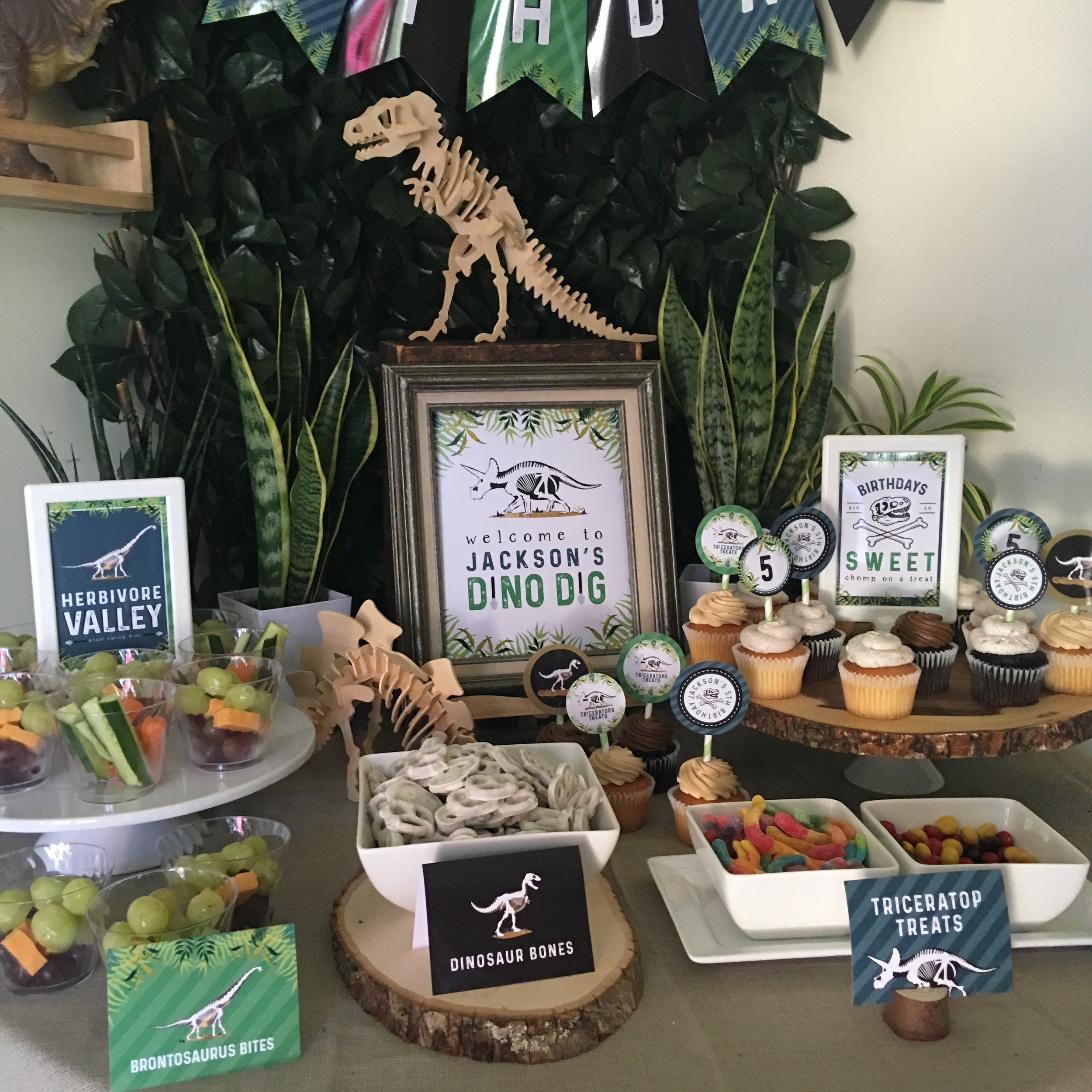 Dinosaur party set up from MKKM Designs