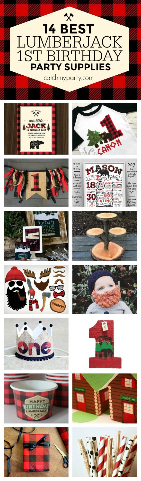 "We're super excited to be included in Catch My Party's ""14 Best Lumberjack 1st Birthday Party Supplies"" roundup. Check it out here."