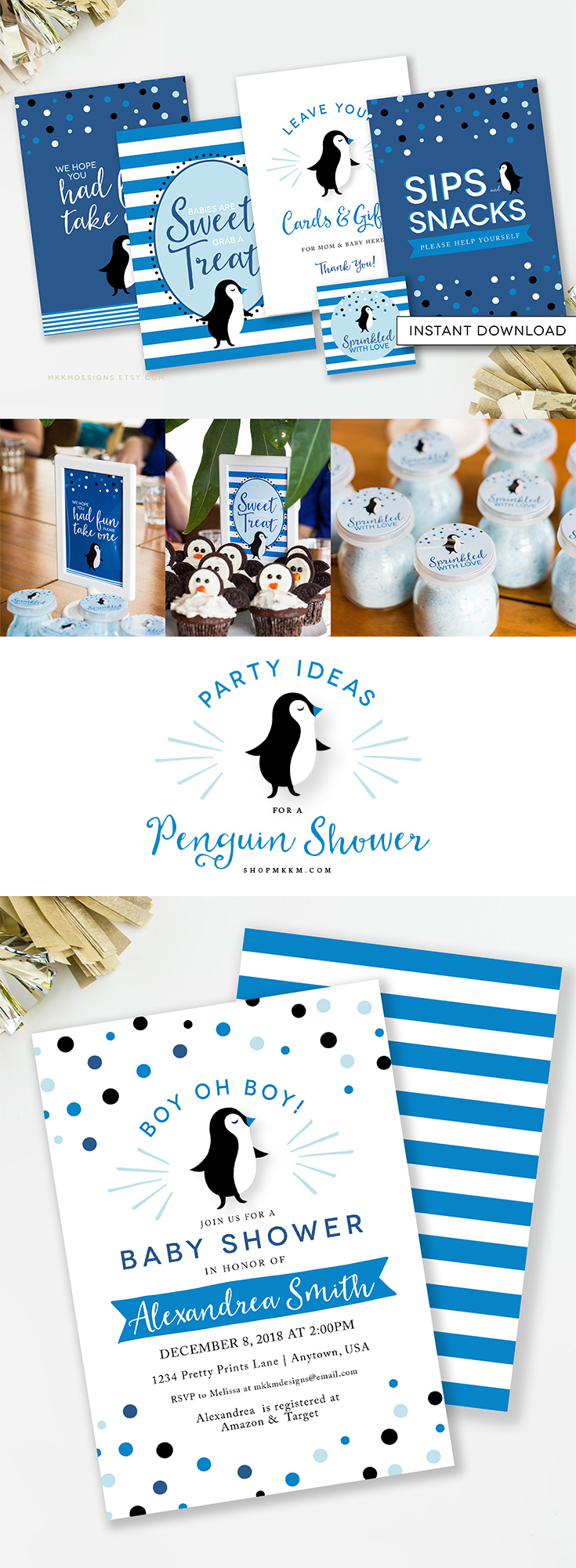 Penguin Baby Shower party ideas and free printables from MKKM Designs