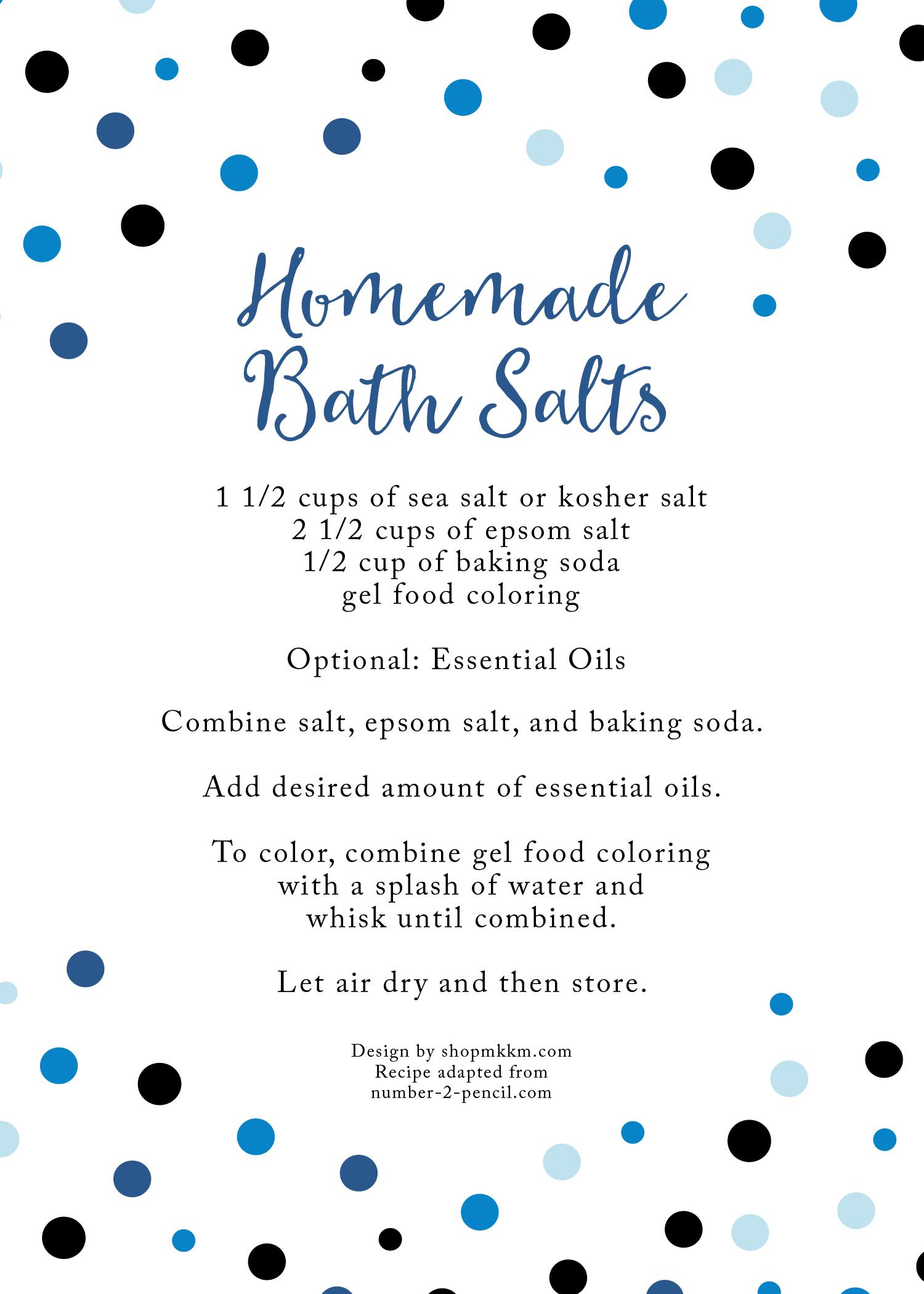 Homemade Bath Salts Recipe for baby shower favors. - Design by shopmkkm.com Recipe adapted from number-2-pencil.com
