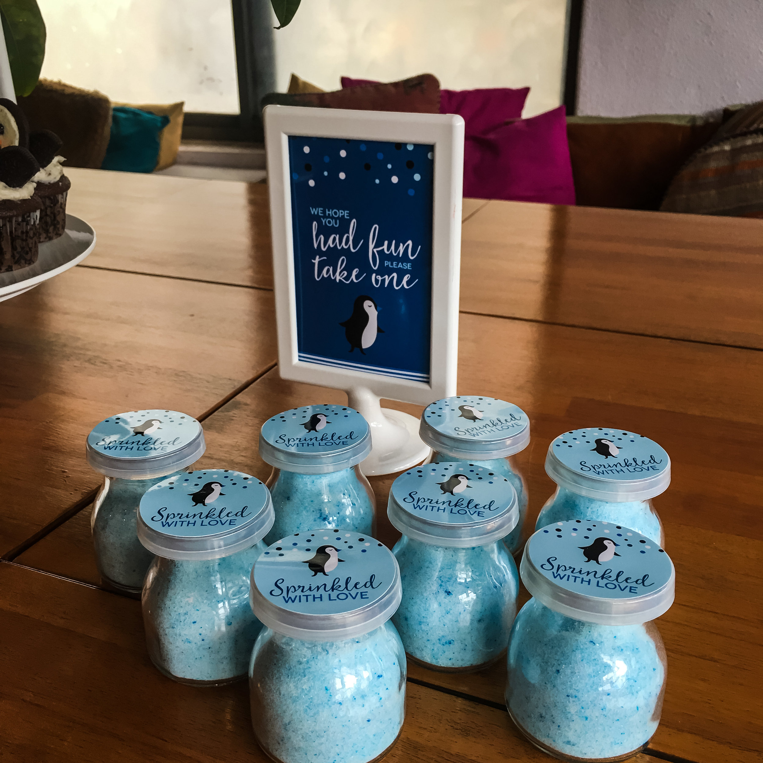 Penguin baby shower decor and favors