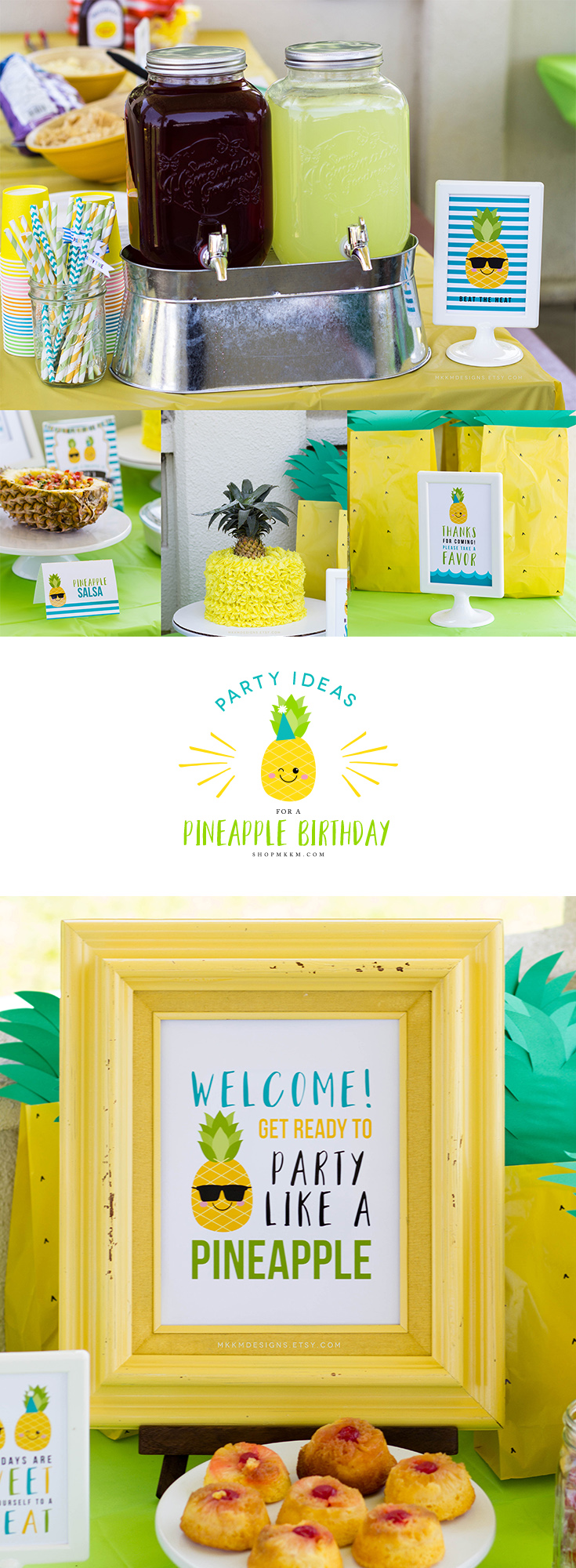 Pineapple party ideas and free printable favor sign from shopmkkm.com