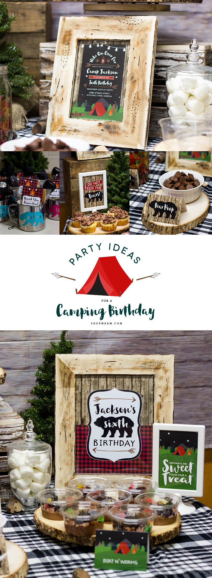 Camping party ideas and free printable favor tags over on the shopmkkm.com blog