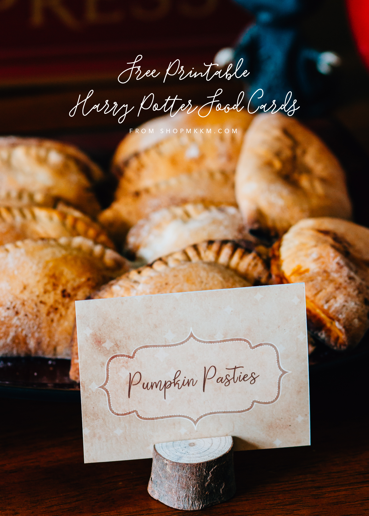 4 Free Harry Potter food cards for a Potter themed event. Pumpkin Pasties, Herbology Bites, and more. // Designs by MKKM Designs