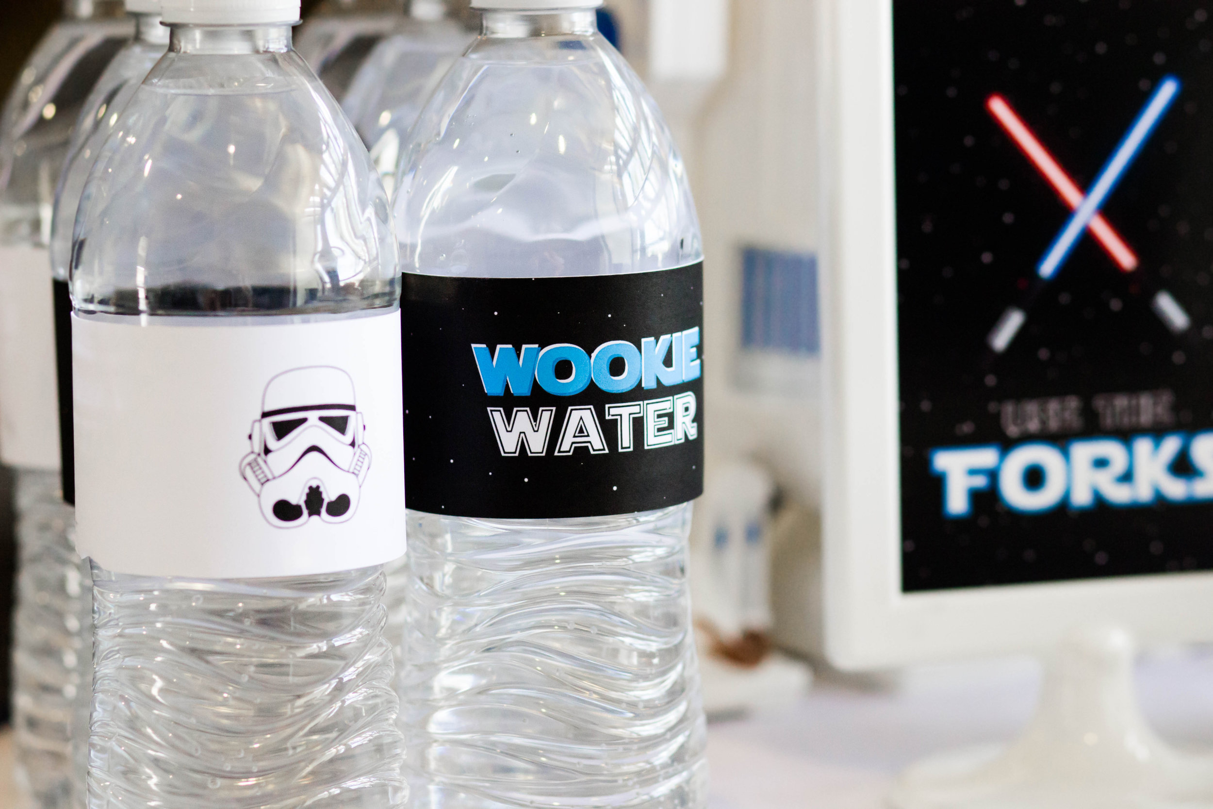 Star wars themed bottle wrappers from a star wars birthday // designs from shopmkkm.com