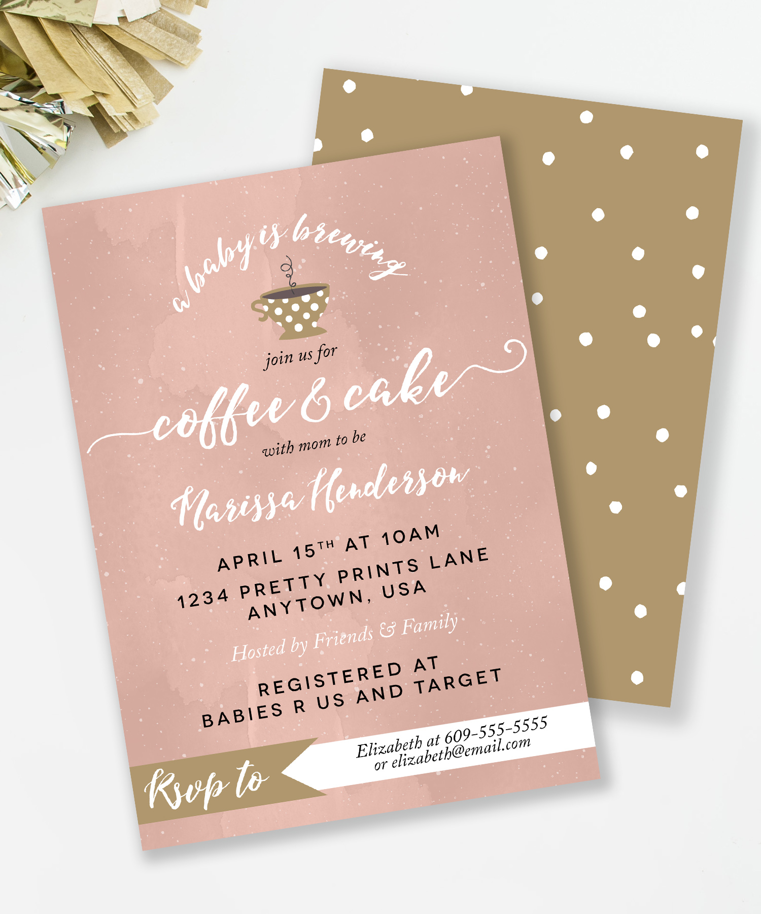 Blush and Gold Coffee baby shower invite from mkkmdesigns