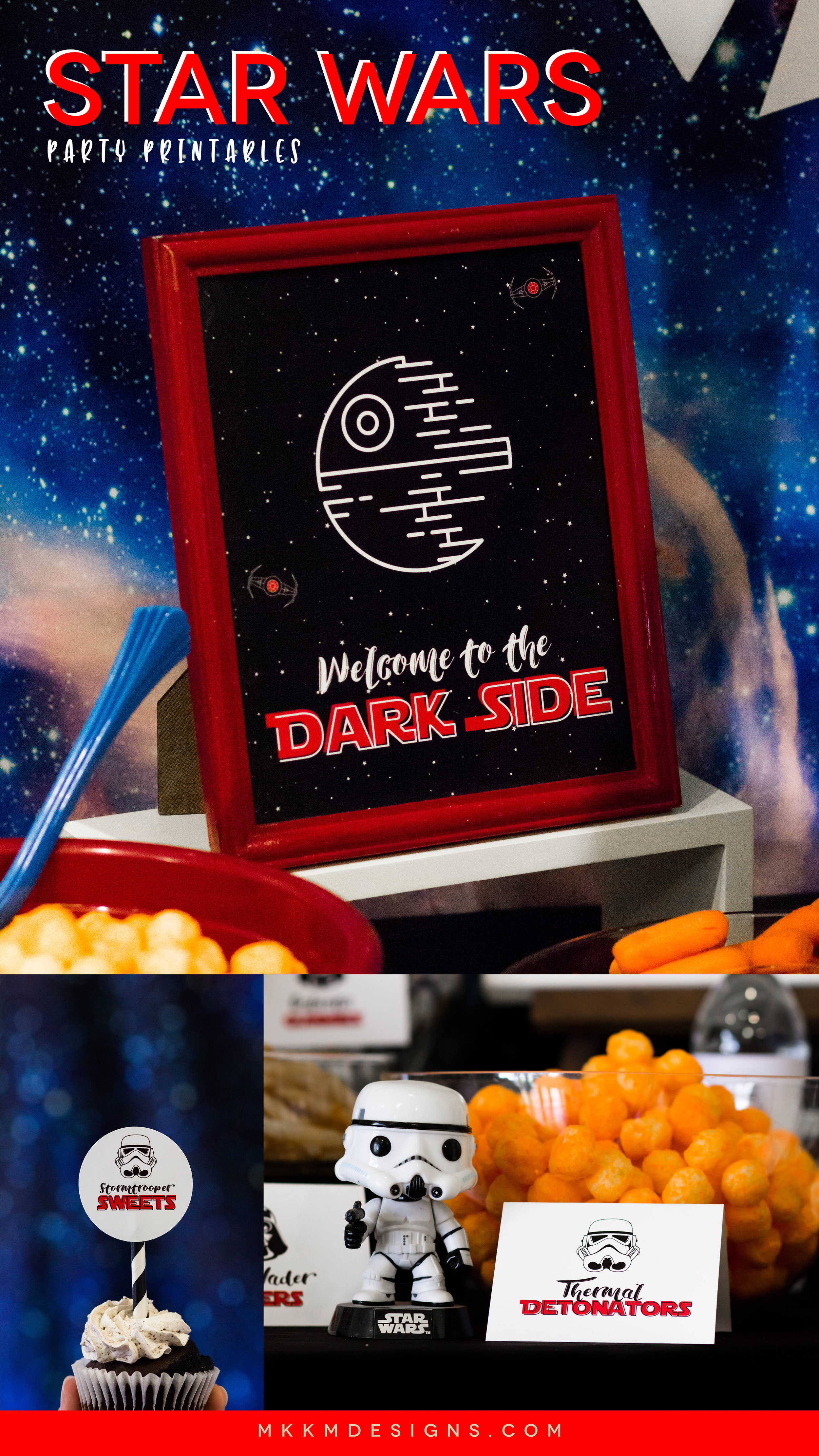 Star Wars Party Ideas and free printables. Get inspired at shopmkkm.com // Grab the free printable Star Wars birthday signs.