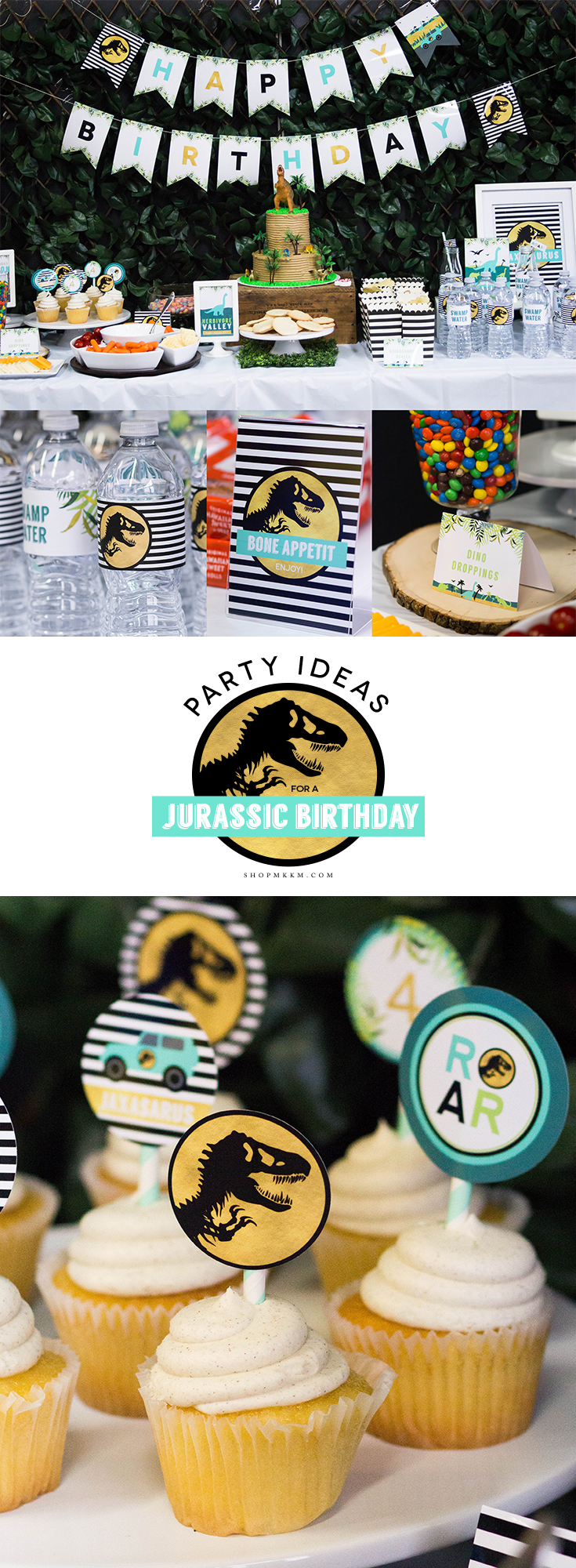 Party ideas and free printable for a Jurassic Park inspired birthday party. // mkkmdesigns