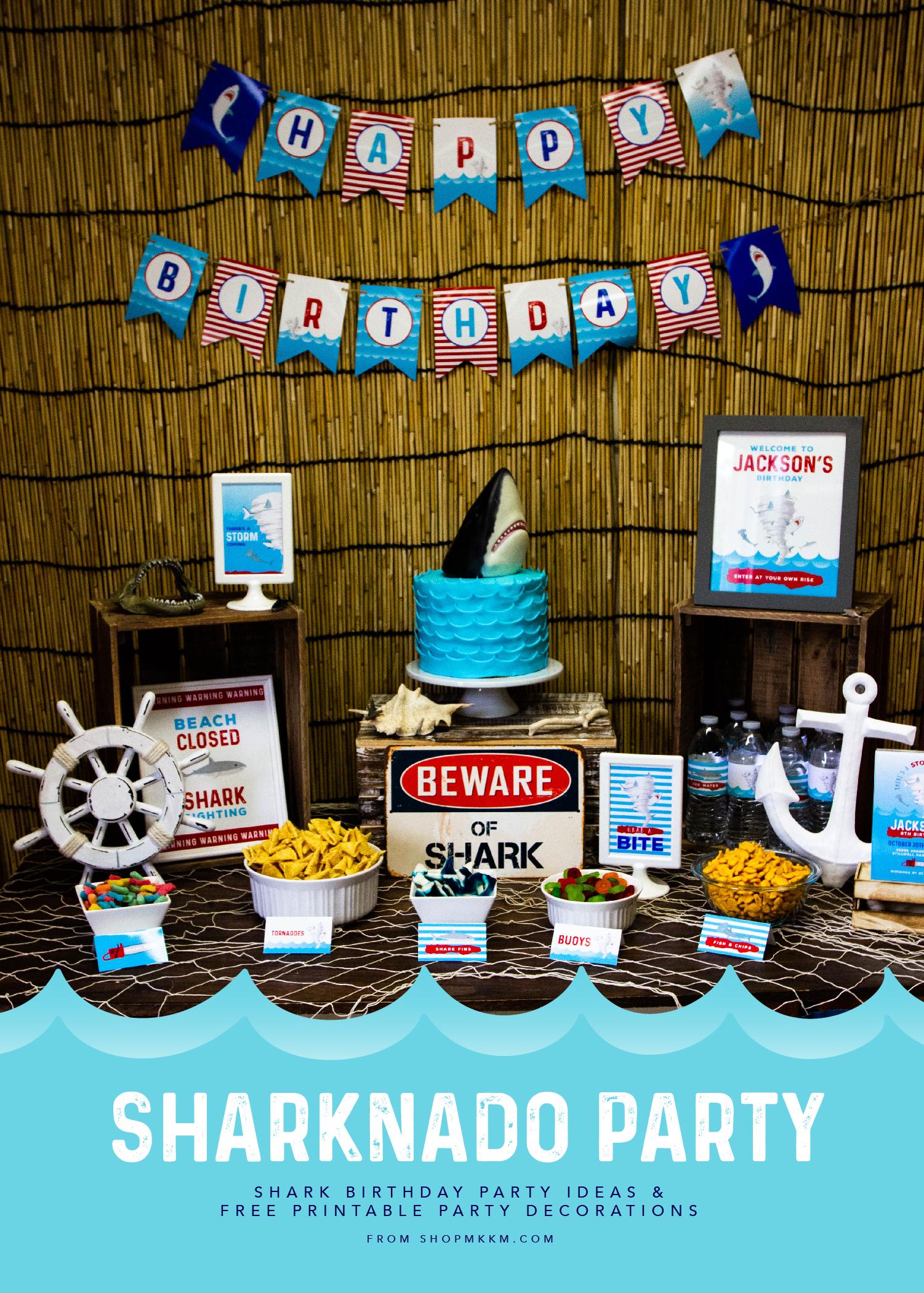 Sharknado Party Ideas & Free Printables ✦ Boy Birthday Ideas ✦ #freebiefridays // ✦ mkkmdesigns