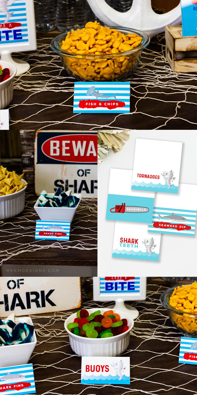 Sharknado themed party food ideas // Boy Birthday Party Ideas, Shark Birthday Party  // ✦ mkkmdesigns