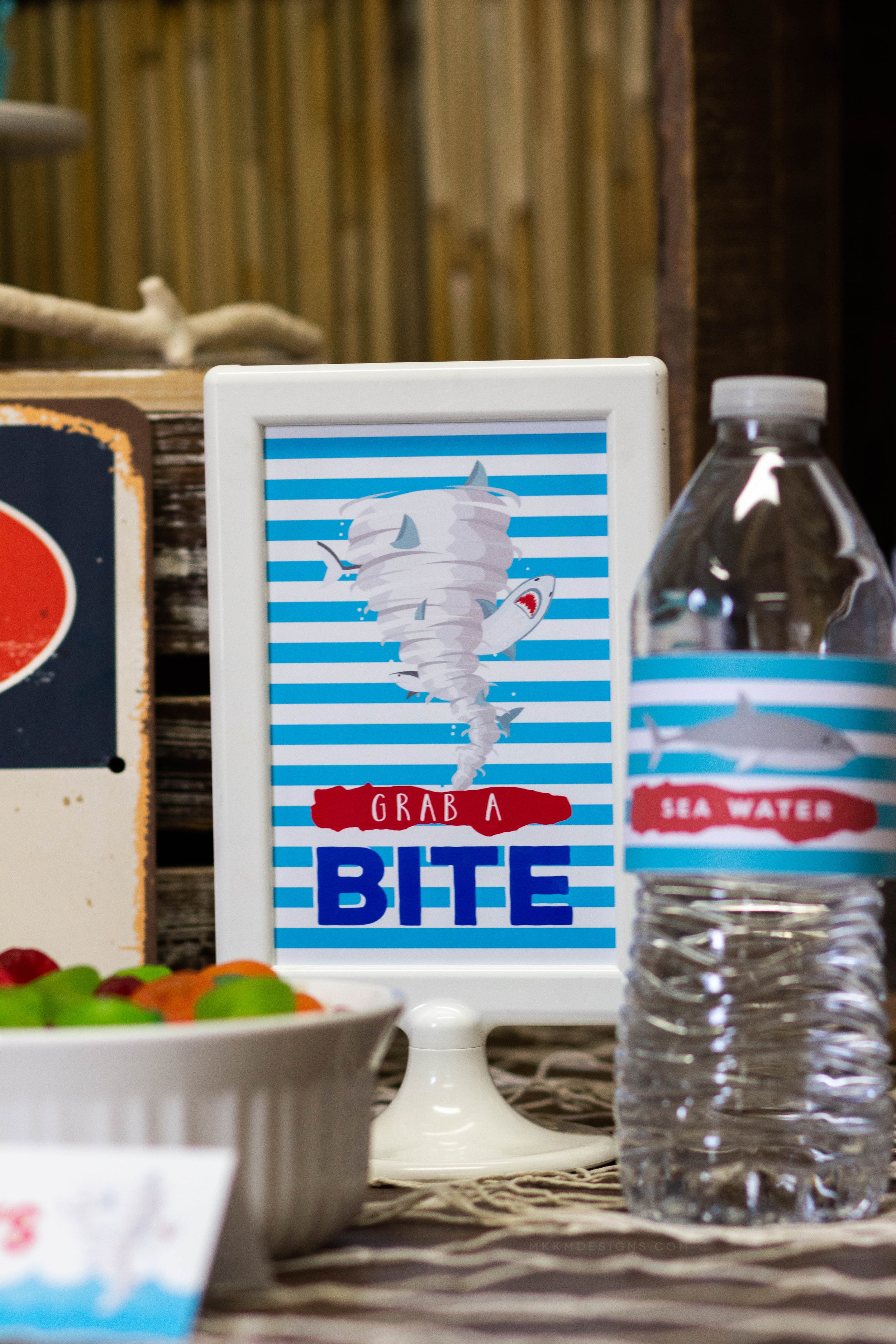 Grab a Bite, Shark Party Food sign for a boys shark birthday party // mkkmdesigns