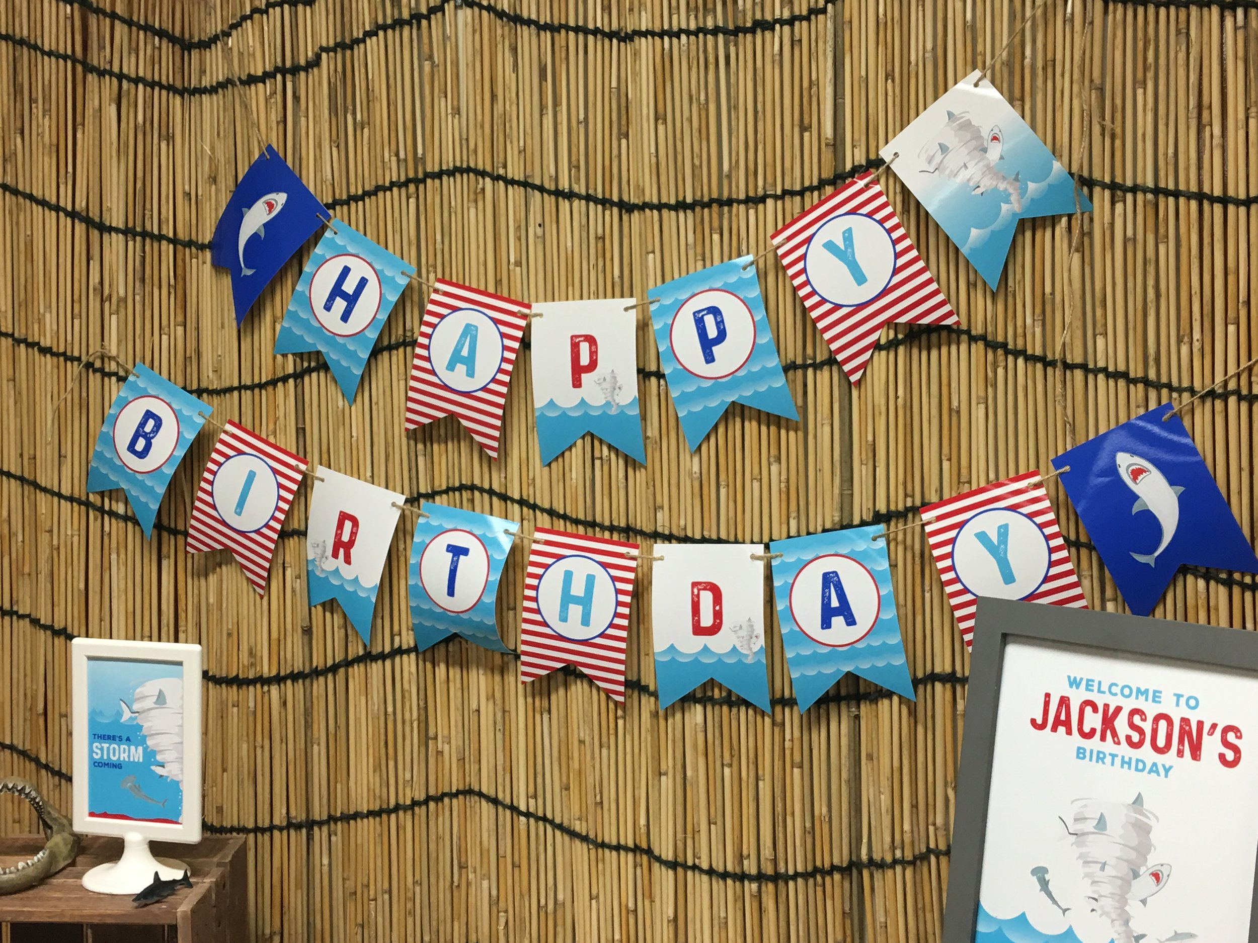 Sharknado themed birthday banner // mkkmdesigns