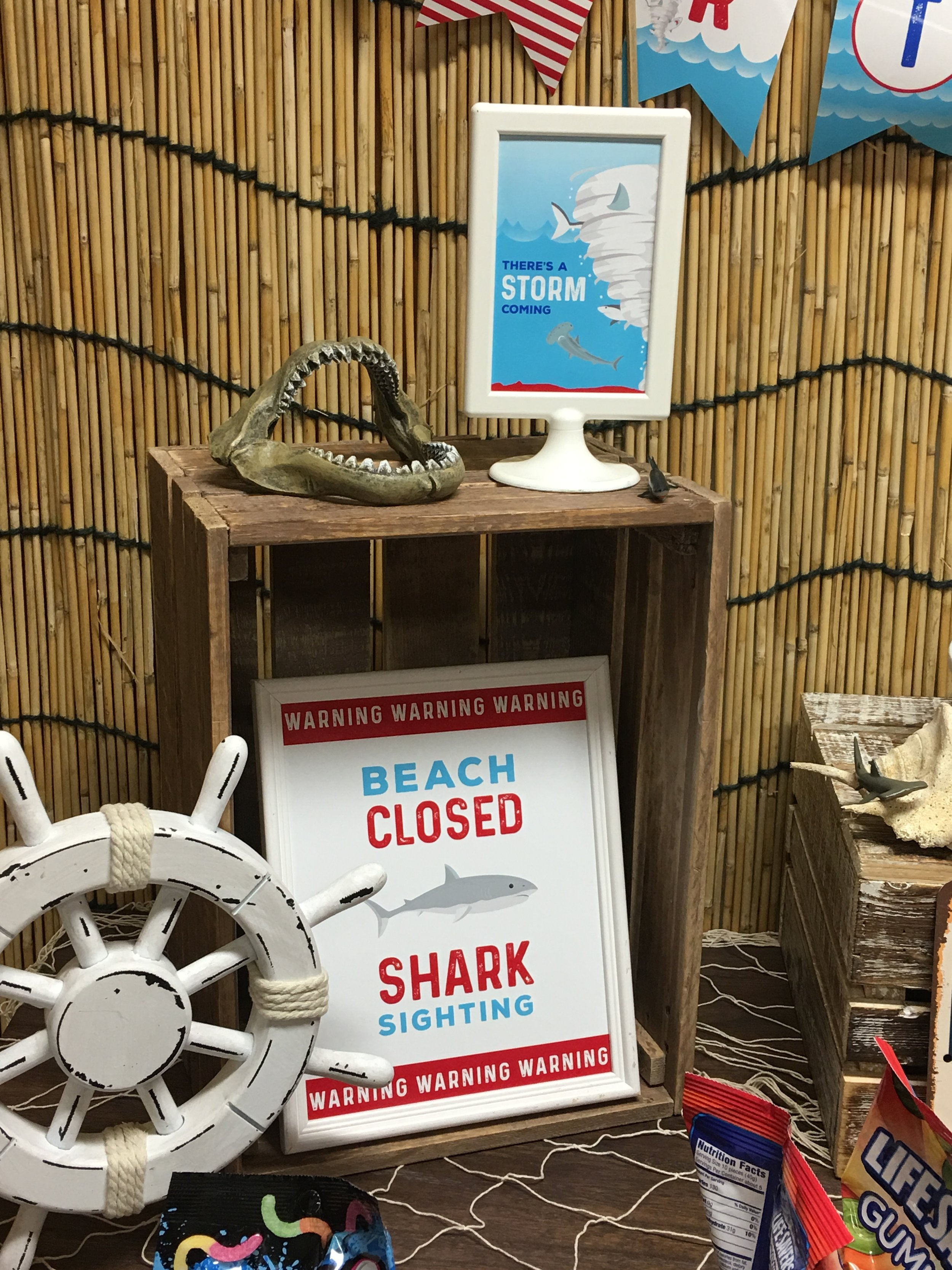 Beach Closed Shark Sighting sign - Boy Birthday Party Decor // Free Printable from MKKM Designs