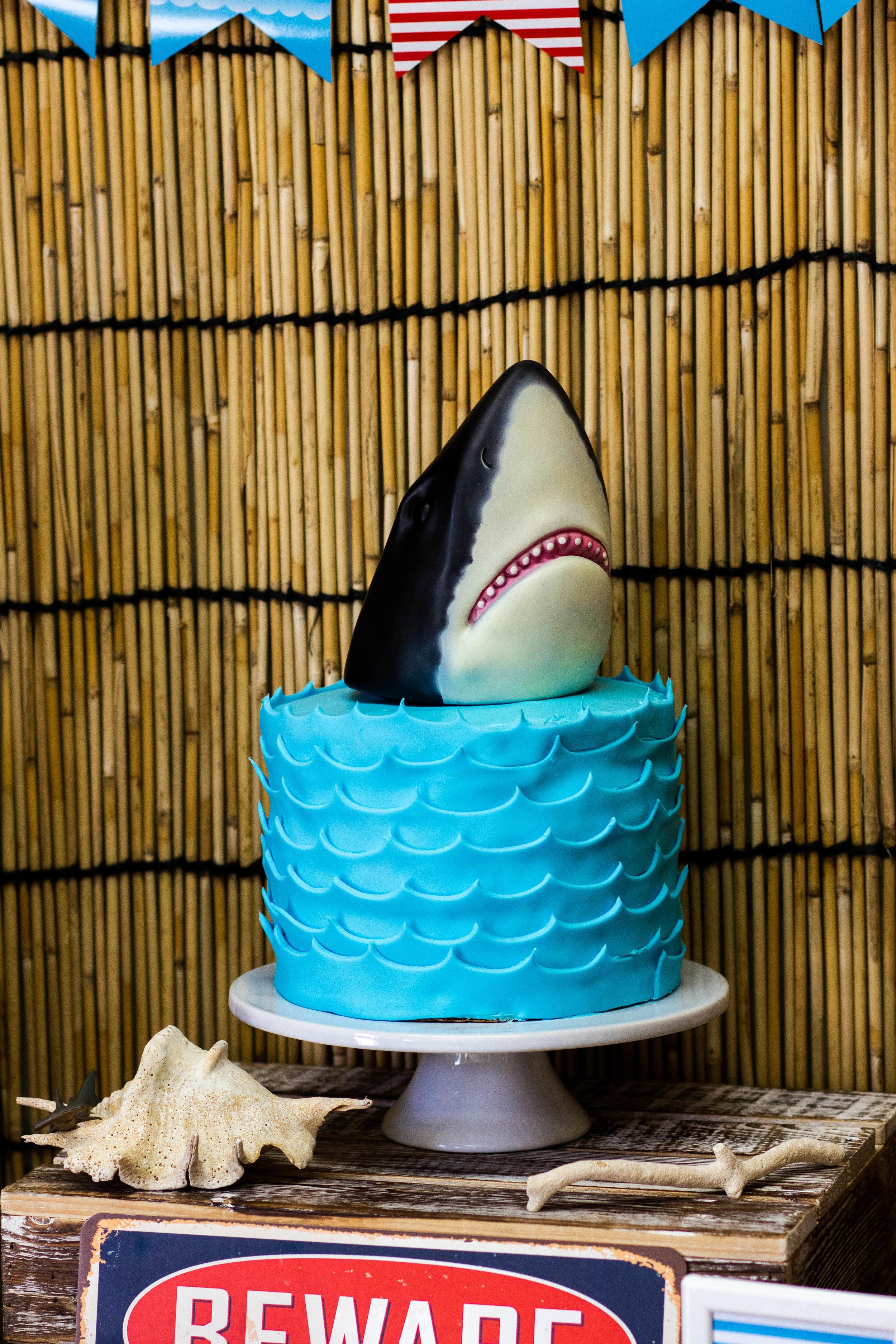Shark Birthday Party Cake Idea // mkkmdesigns