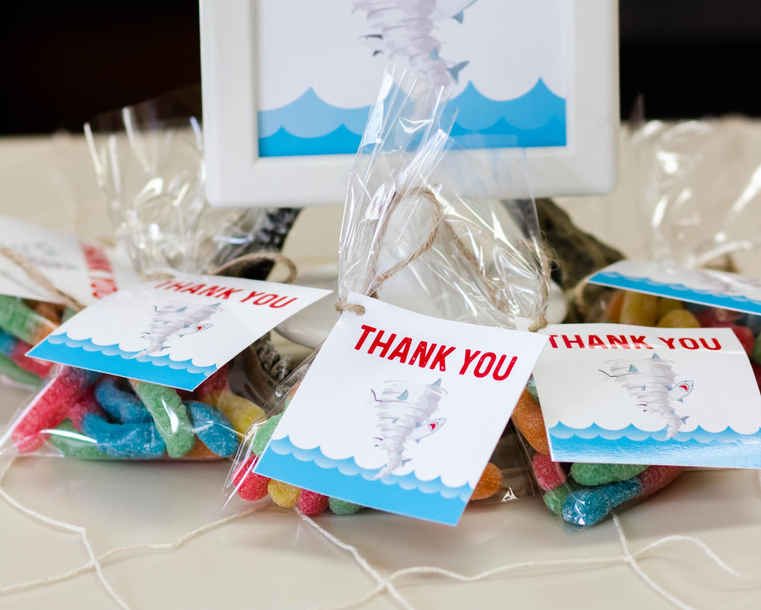 Free Printable thank you tags // Shark Party Decor - Sharknado Birthday Party Ideas // mkkmdesigns