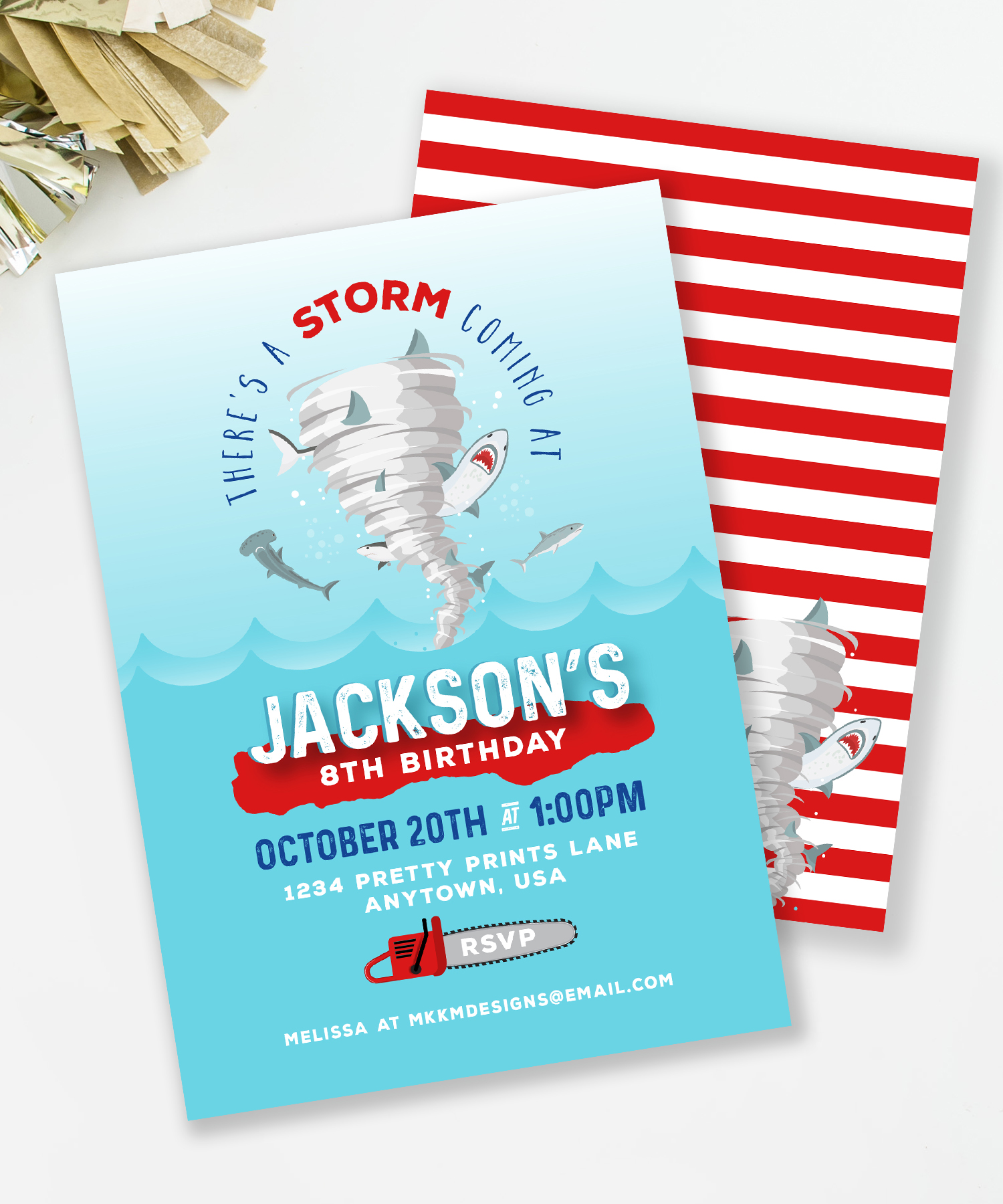 Sharknado Birthday Party Invitation // Shark Birthday Party Invite // MKKM Designs