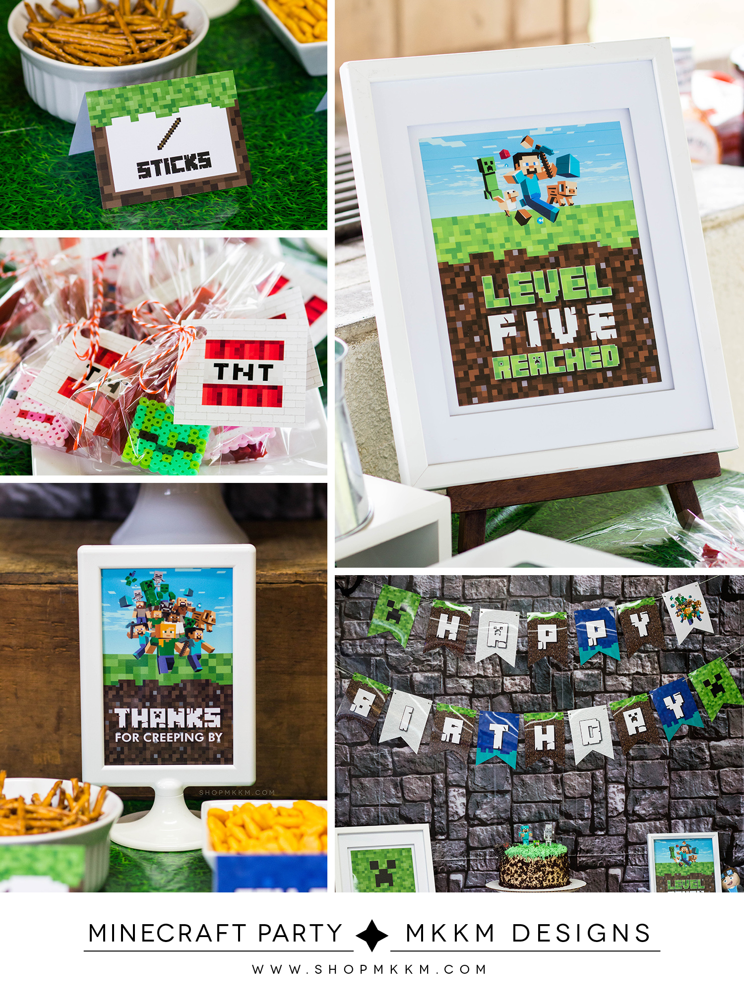 Minecraft party decor and free printables from MKKM Designs