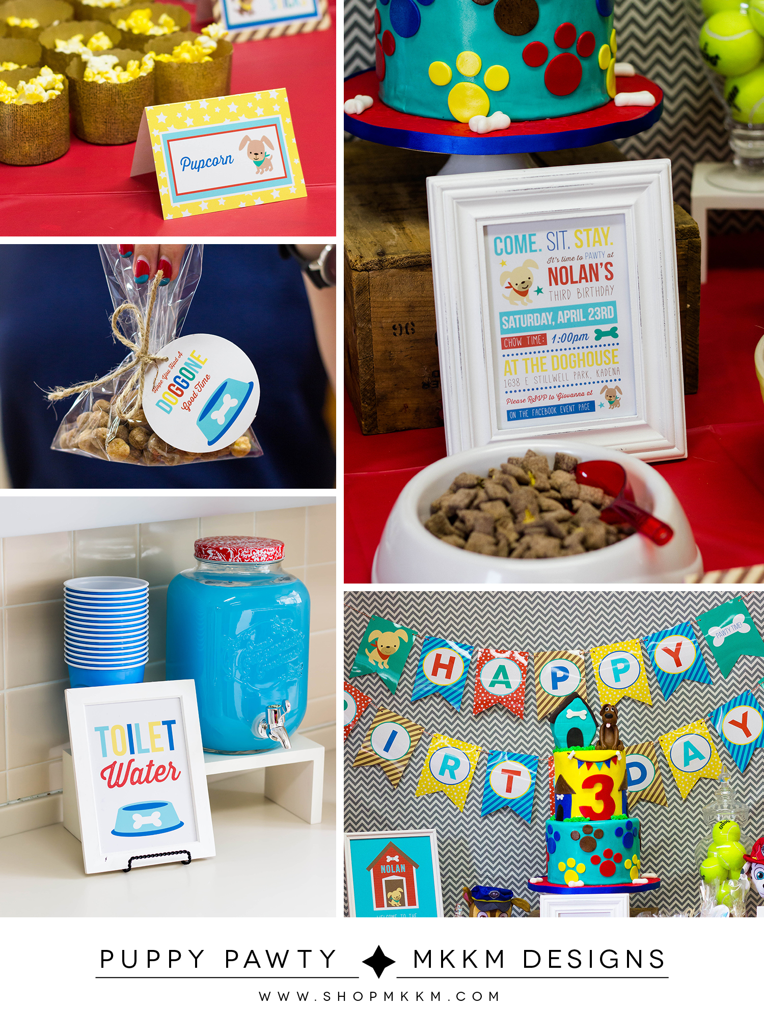 Puppy Pawty decor and free printable favor tags from MKKM Designs