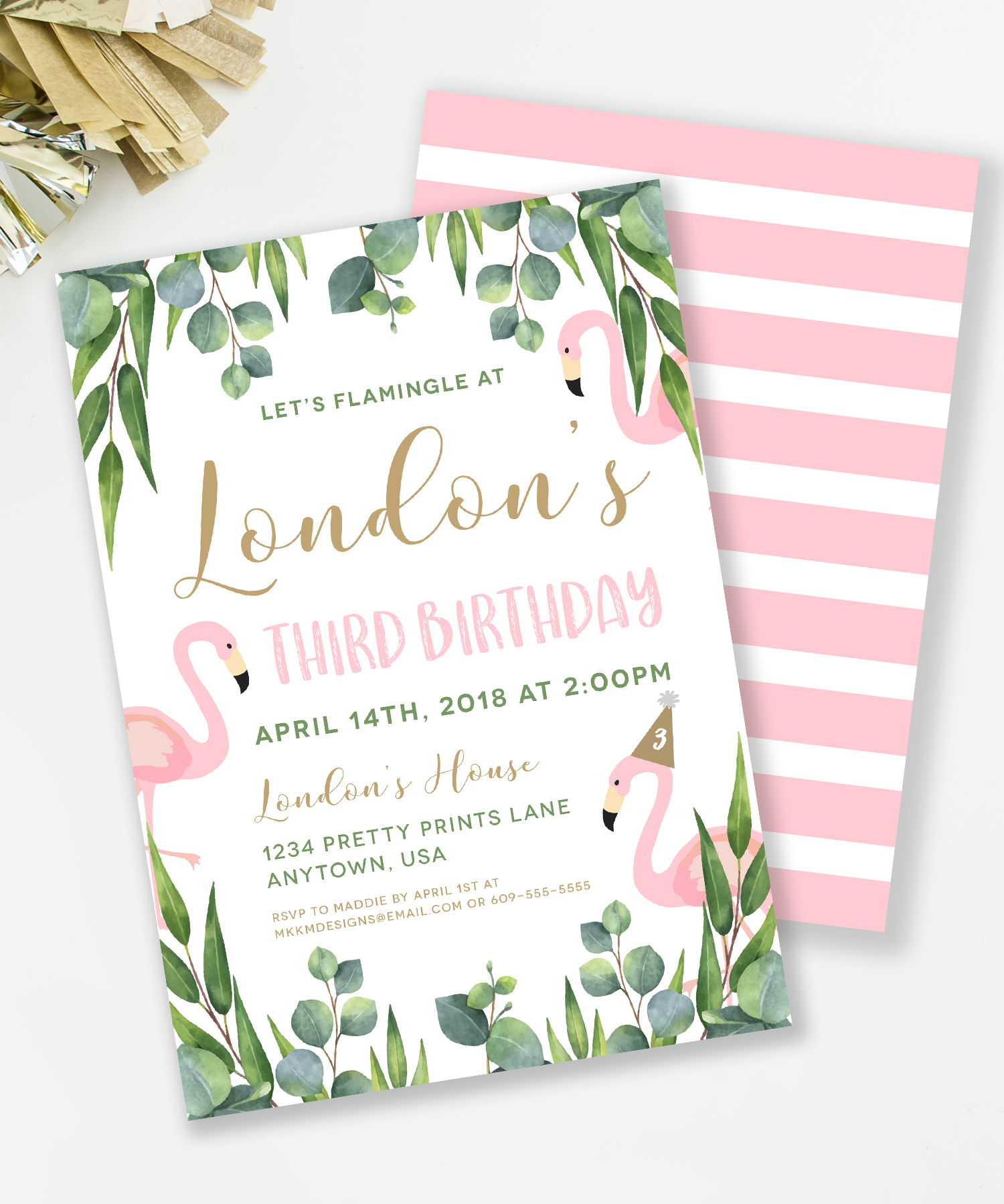 Let's Flamingle at a Flamingo themed birthday party // mkkmdesigns