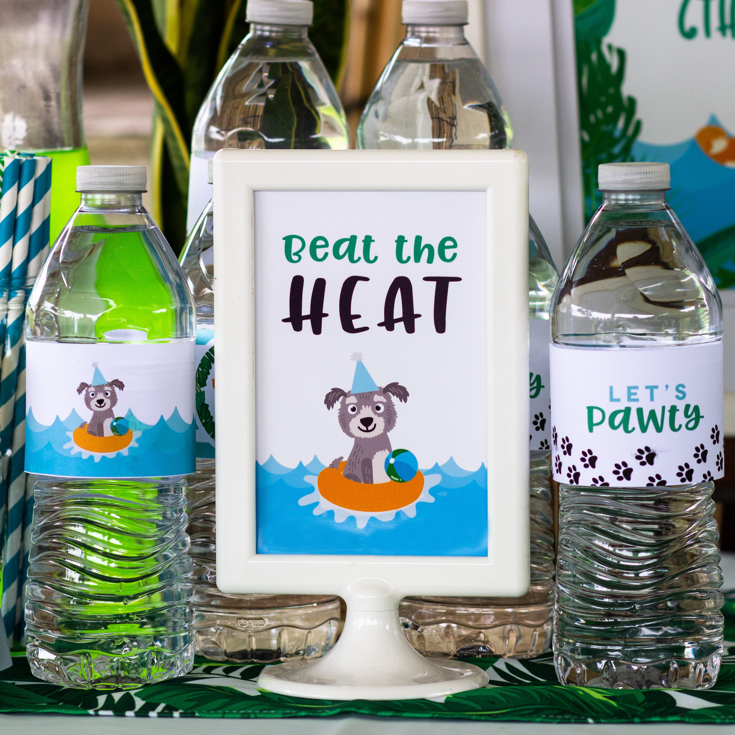 Beat the Heat Water Station at a puppy pool party // mkkm designs