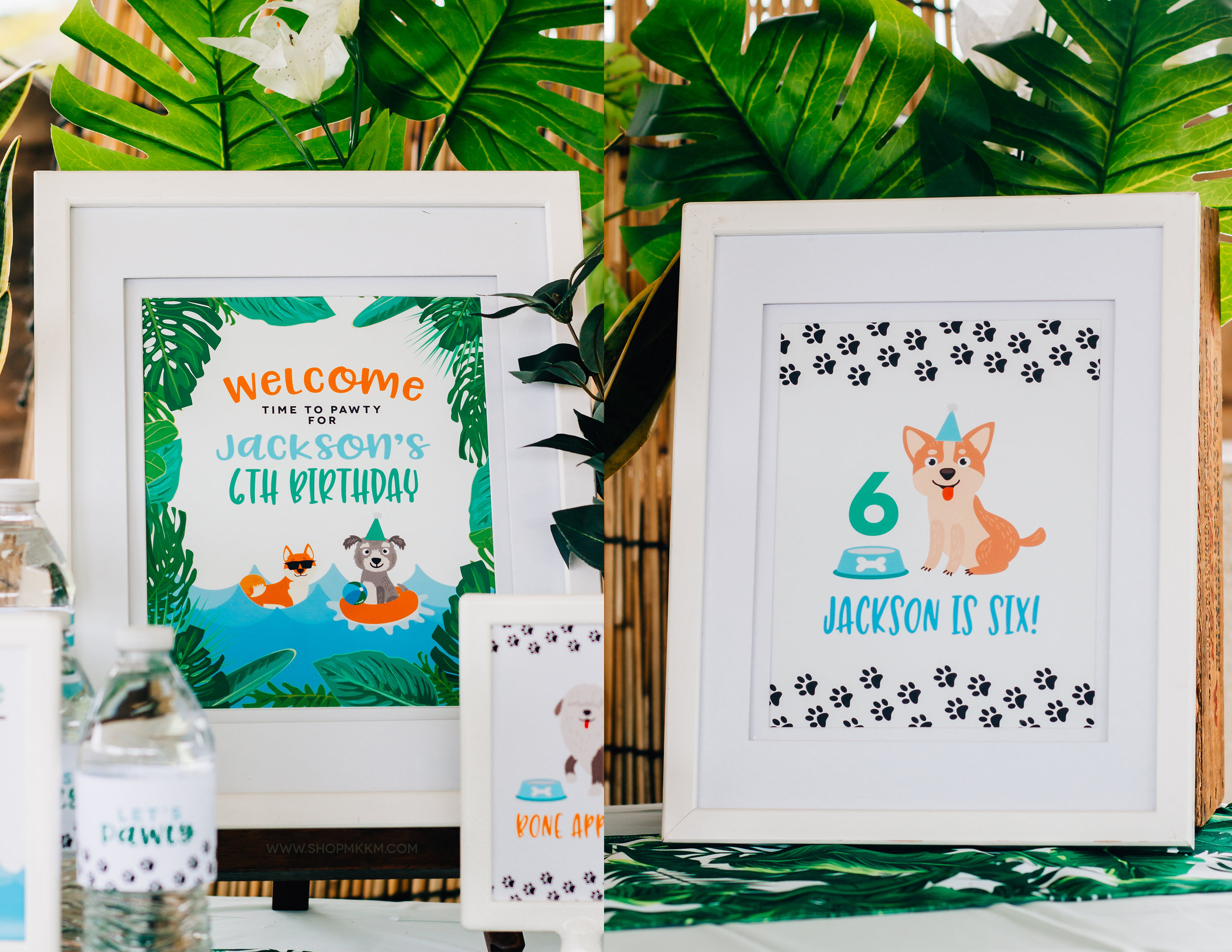 Tropical Puppy Party Signs from shopmkkm.com