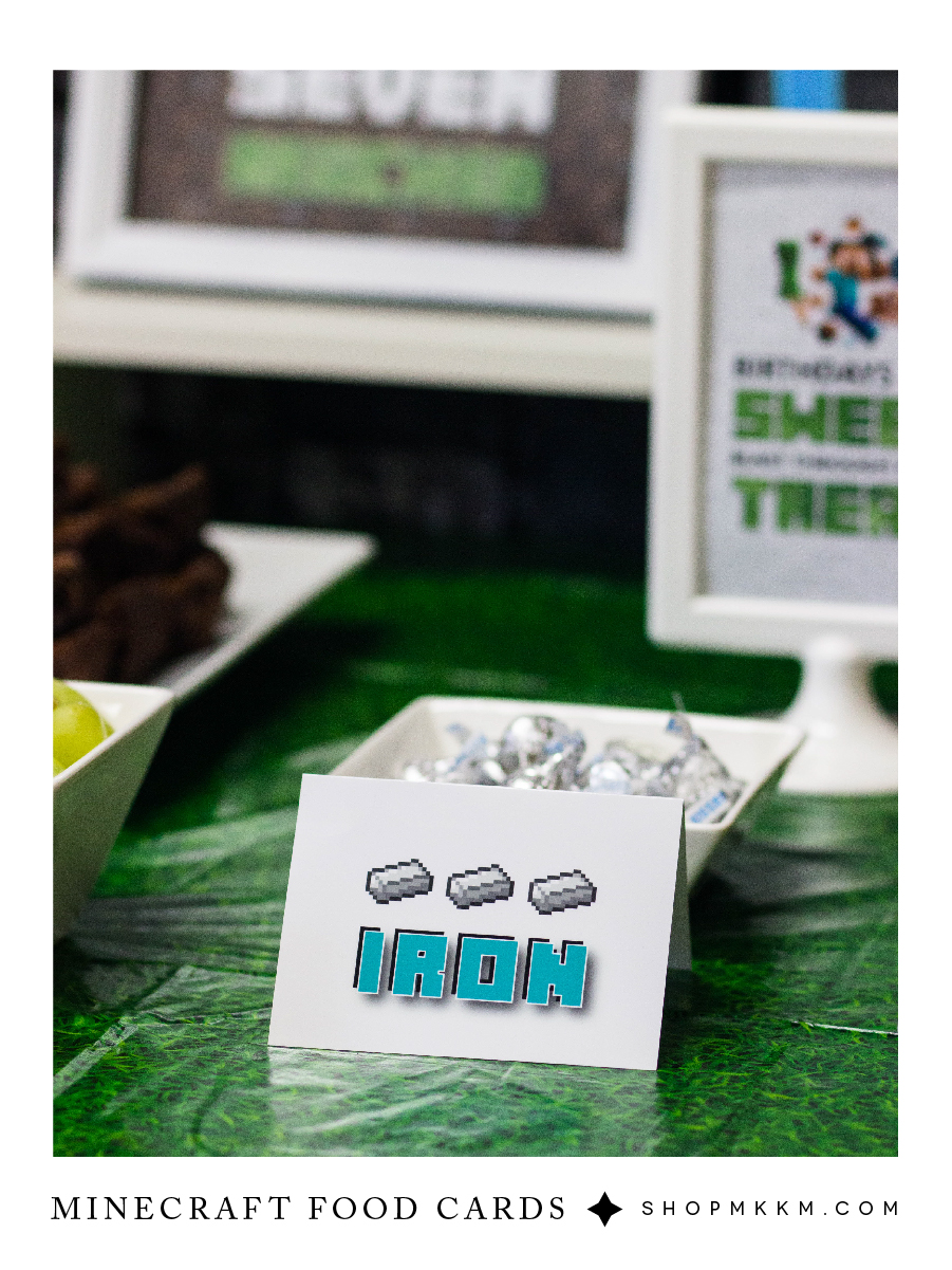 Free Printable Minecraft Party Signs #mkkmdesigns - Minecraft Party Planning, Boys Birthday Ideas