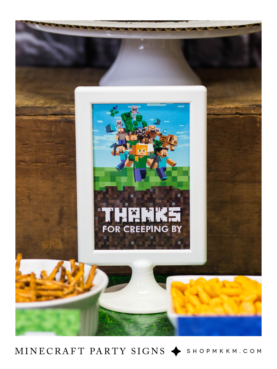 Minecraft Party Decor Free Printables. Plan your little boys minecraft party with our free printable decor and food cards. #mkkmdesigns