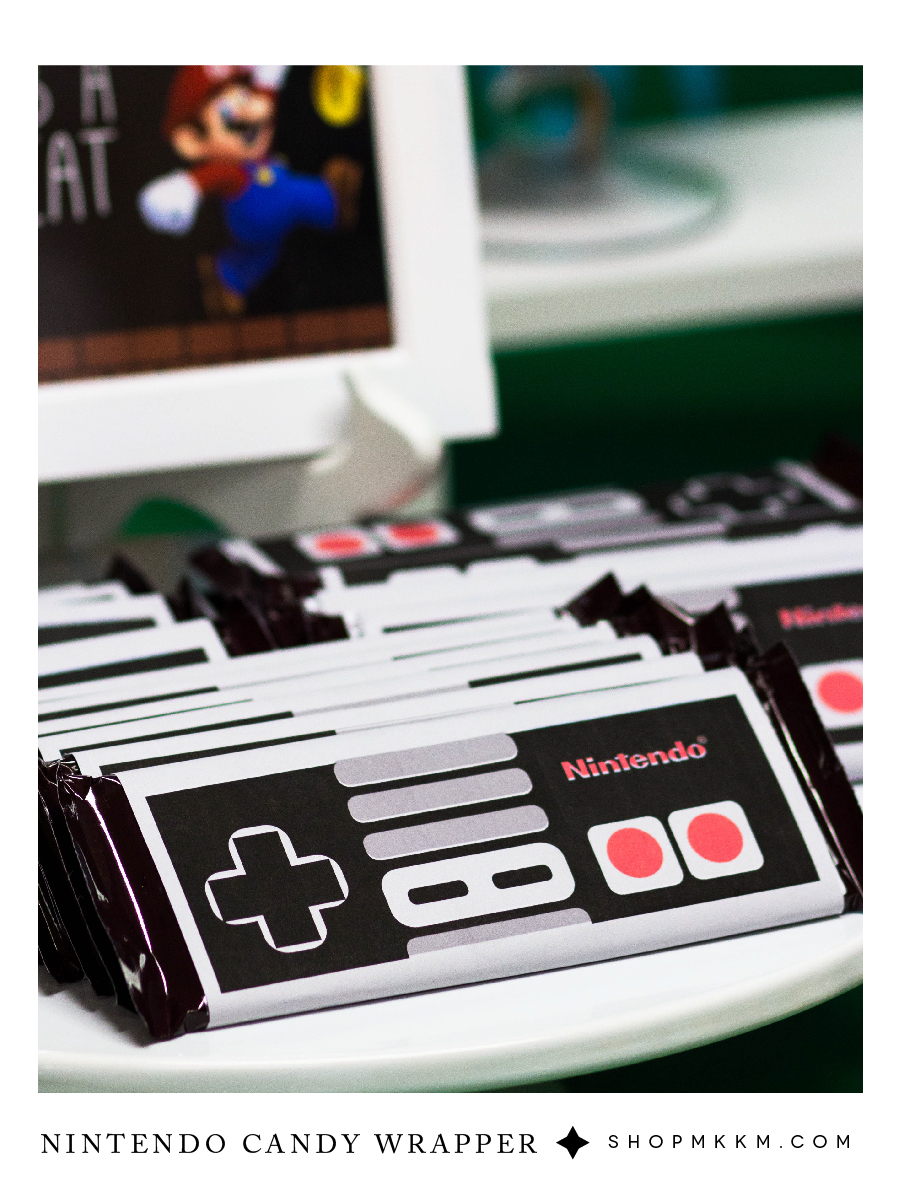 Free printable nintendo candy wrappers for a video game themed birthday #mkkmdesigns
