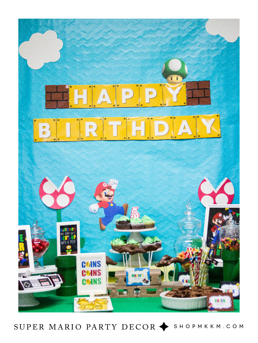 Free Printable Mario Birthday Banner and party decor by MKKM Designs