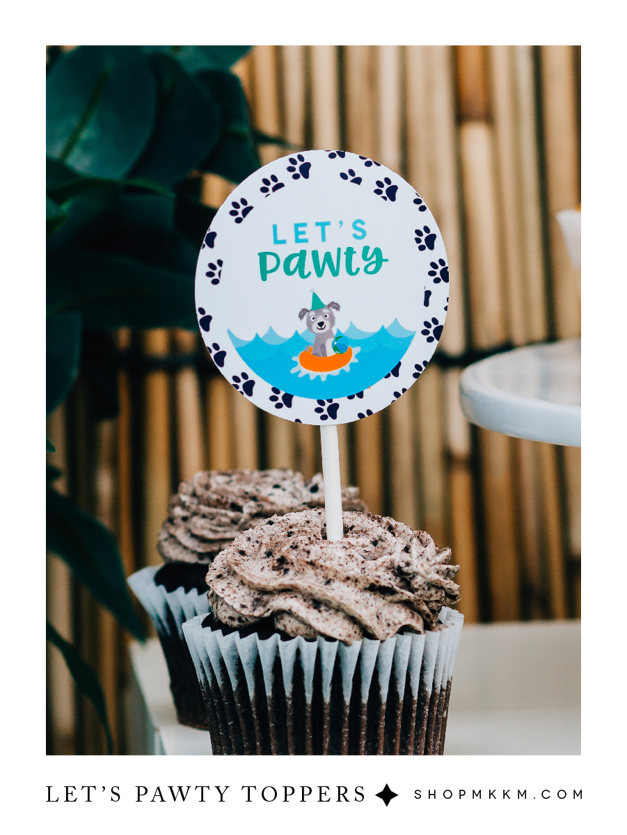Let's Pawty free printable cupcake toppers for a tropical puppy party. shopmkkm.com