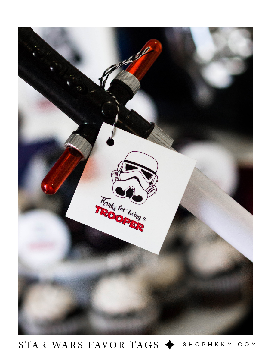 Thanks for being a Trooper, Free printable Star Wars favor tags from shopmkkm.com