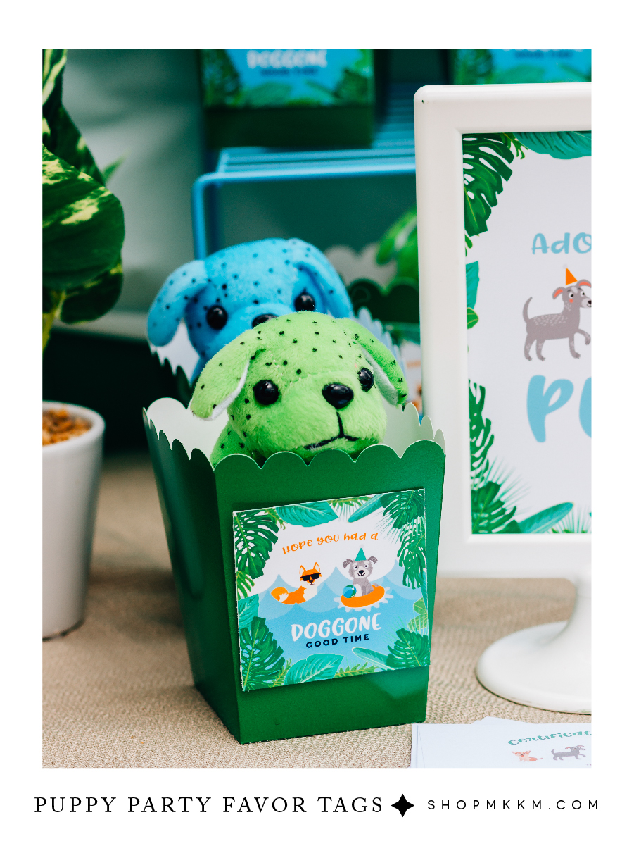 Puppy party favor tags, free printable from shopmkkm.com // This tropical bow wow luau event is perfect for upcoming summer birthday parties.