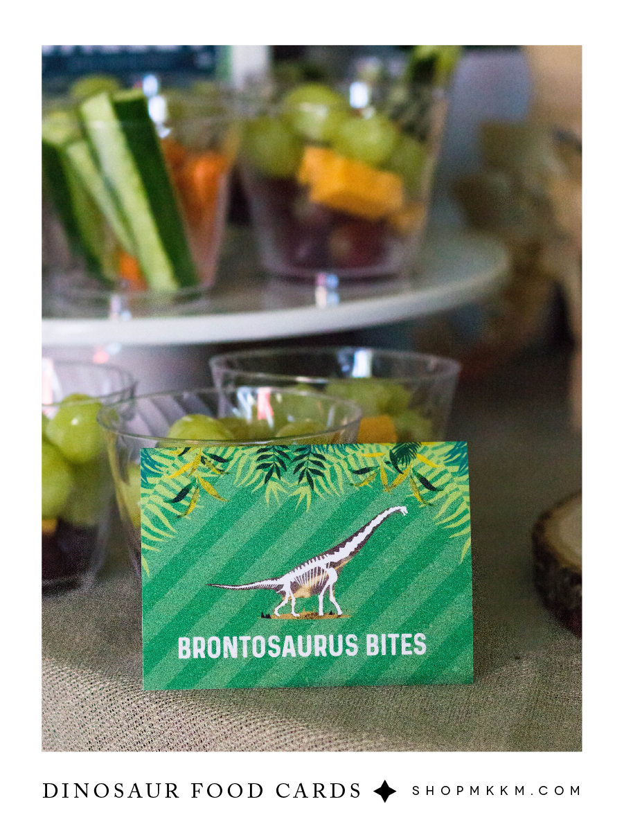 Dinosaur food cards free printables from shopmkkm.com // These dino dig, fossil themed, printables are perfect for a little paleontologist.